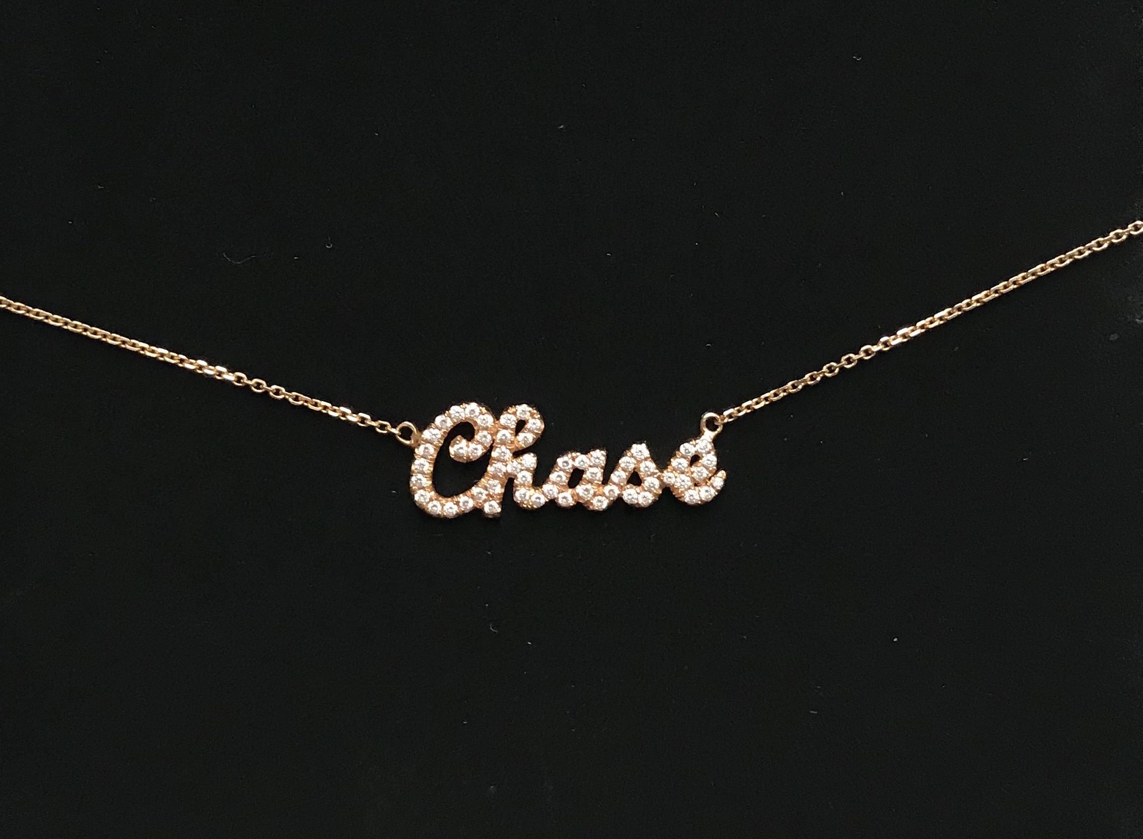 Custom Name Necklace - please inquire for pricing, Diamond & Gold (Yellow, White, Rose)
