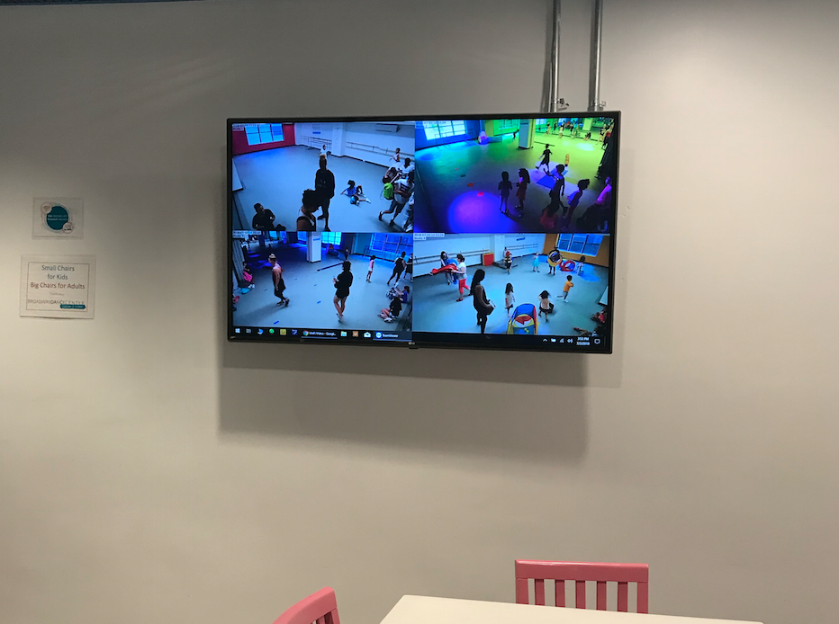 There are monitors in the waiting areas to observe your child. Chase often asked me if I saw him do such-and-such on the screen. Once I saw him help put away a SLIDE! He looked like a little ant carrying it and I was proud of him. :)