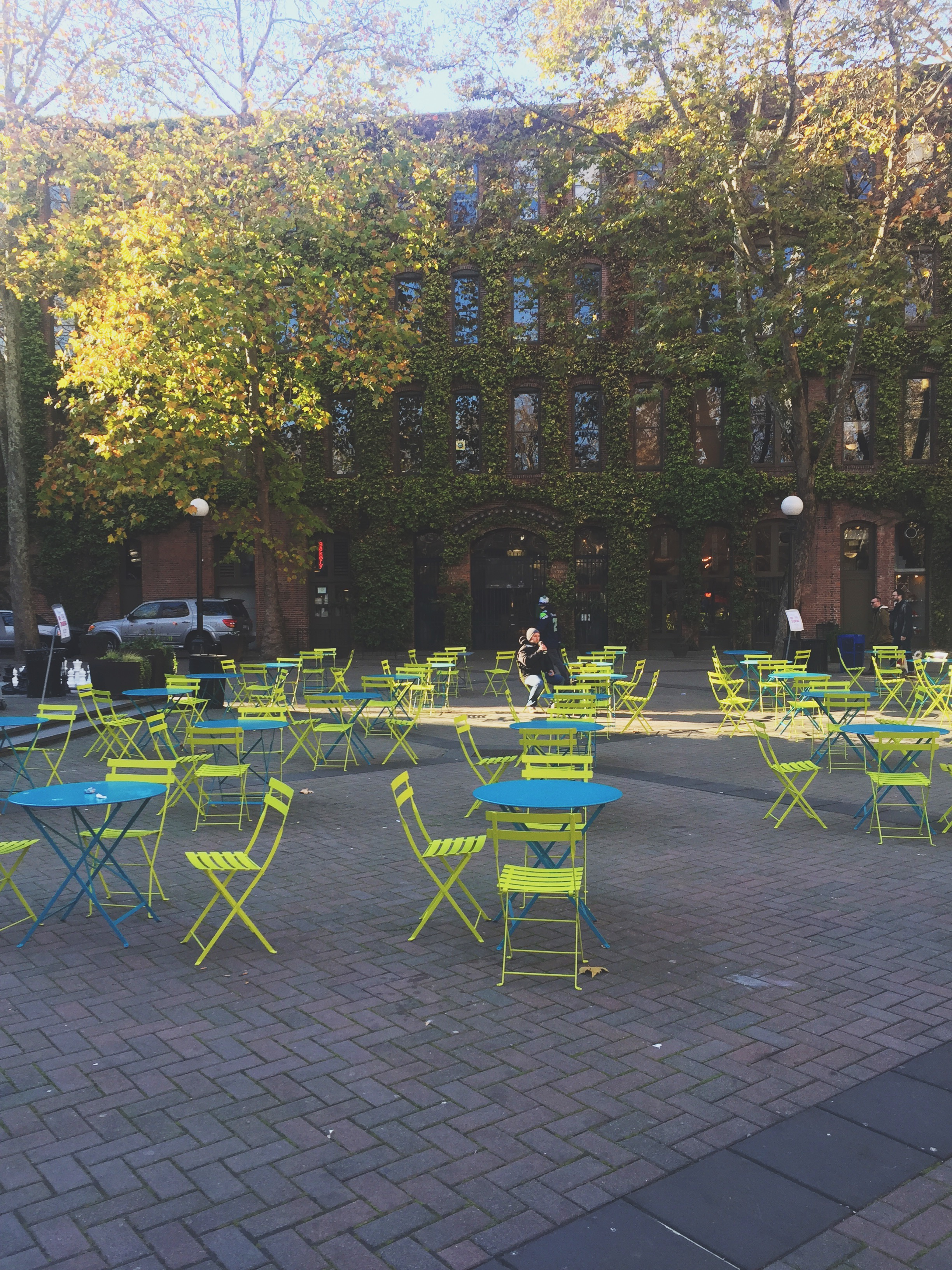Pioneer Square. Eureka coffee, Tat's famous deli and many other delicious eats and shops!