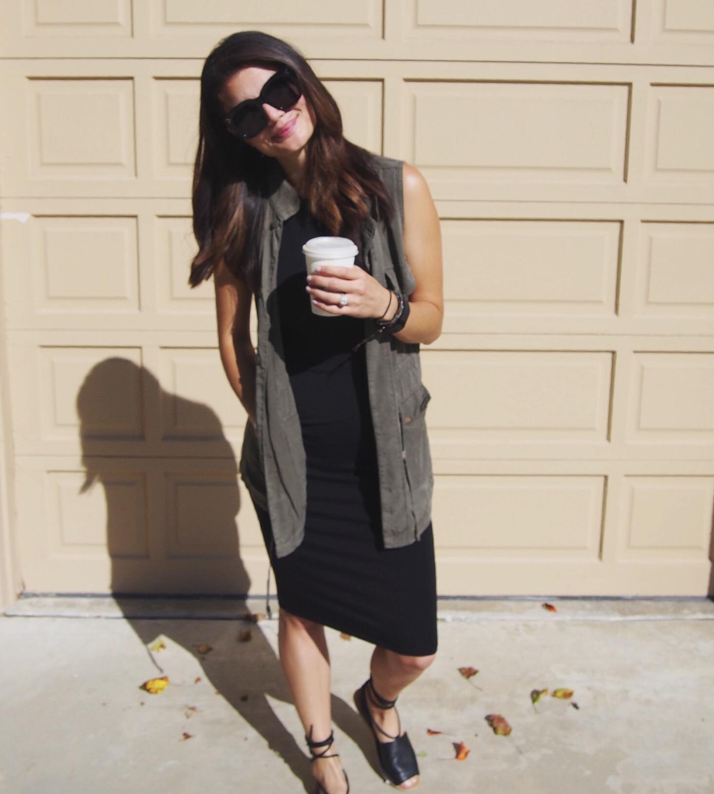 Vest: Target. Dress: Forever 21. Shoes: Topshop. Sunglasses: Karen Walker.