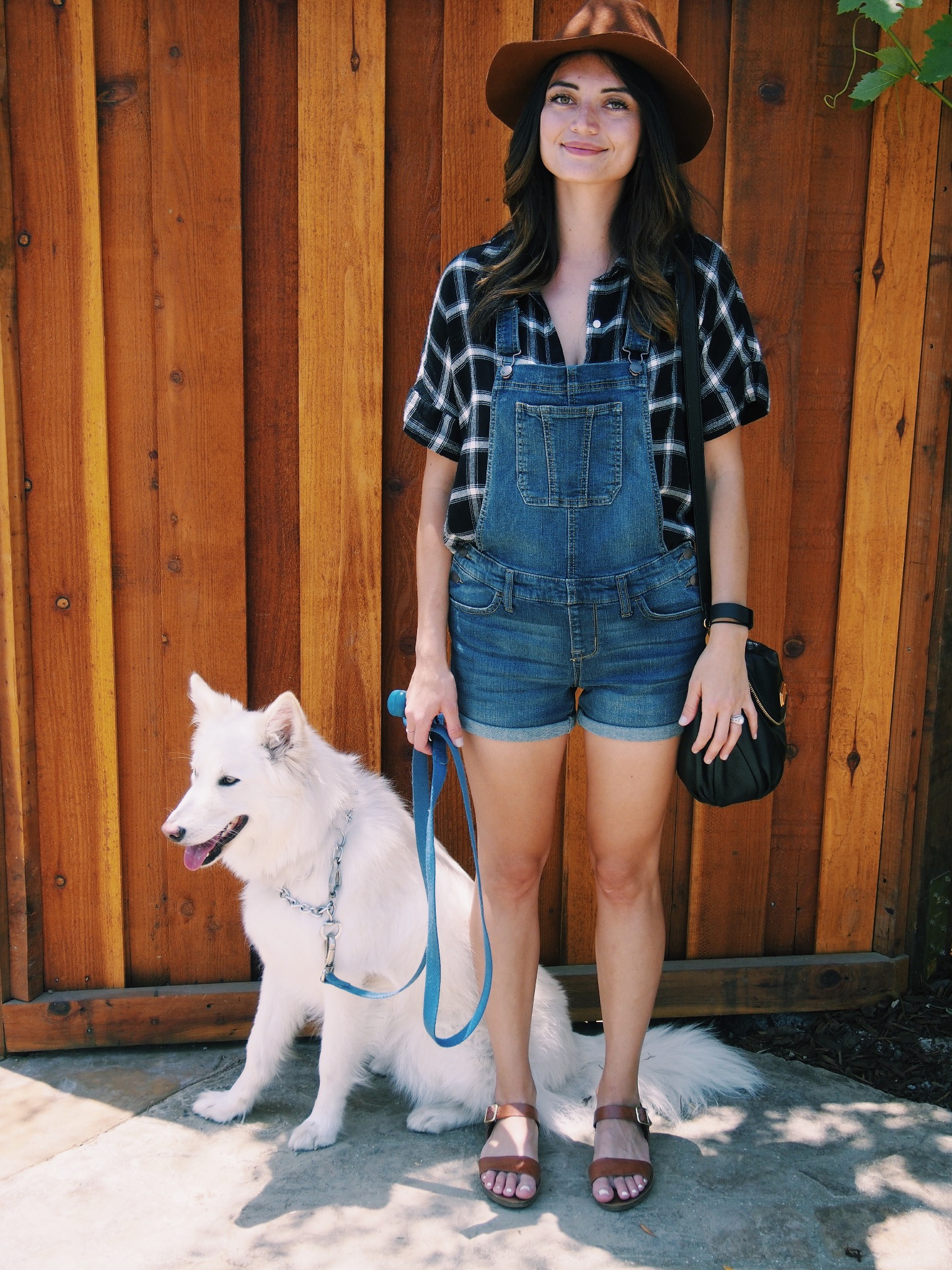 Hat: Urban Outfitters. Shirt: Old Navy. Overalls: similar  here   and  here.  Sandals: Steve Madden.