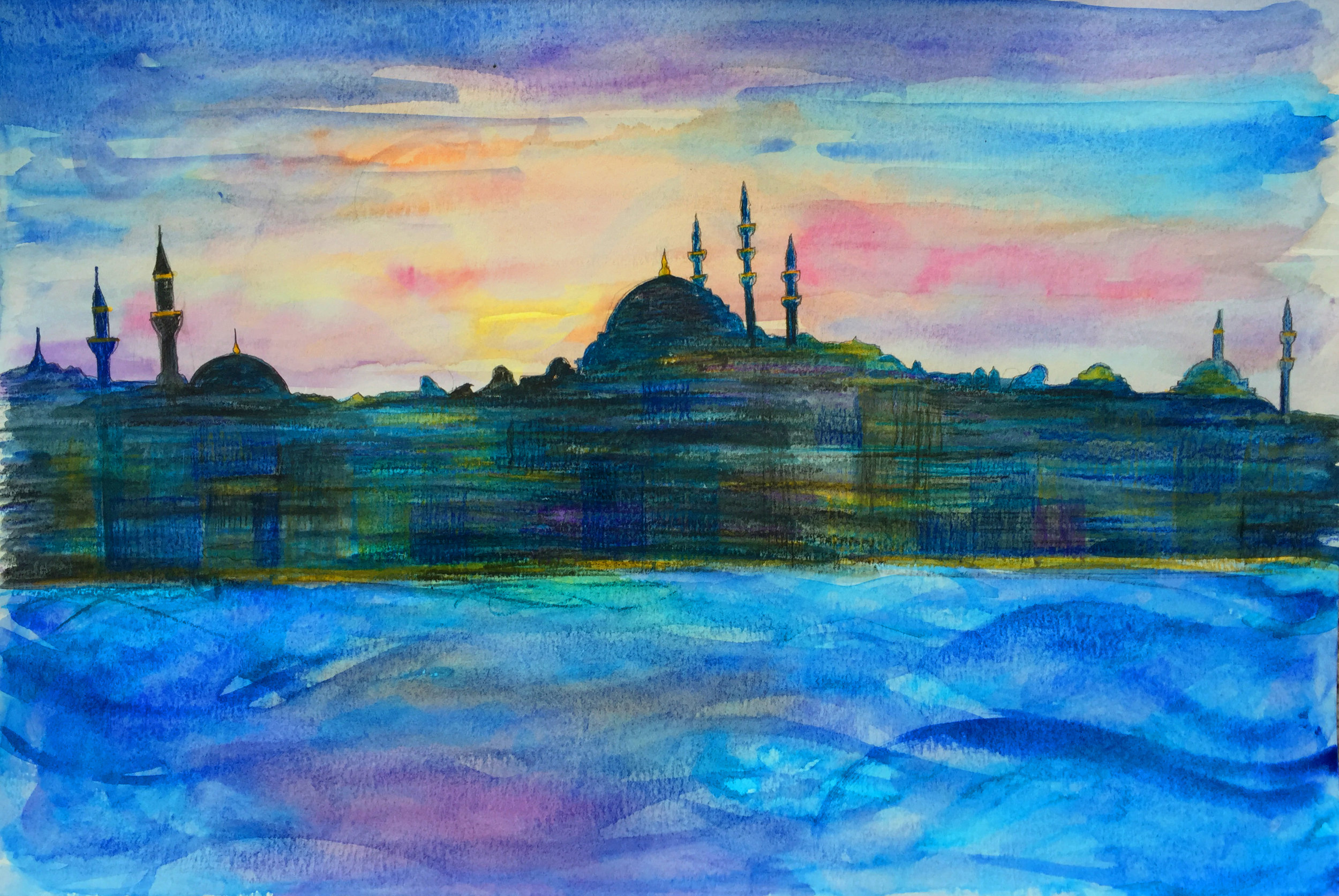 Istanbul Skyline Watercolor -