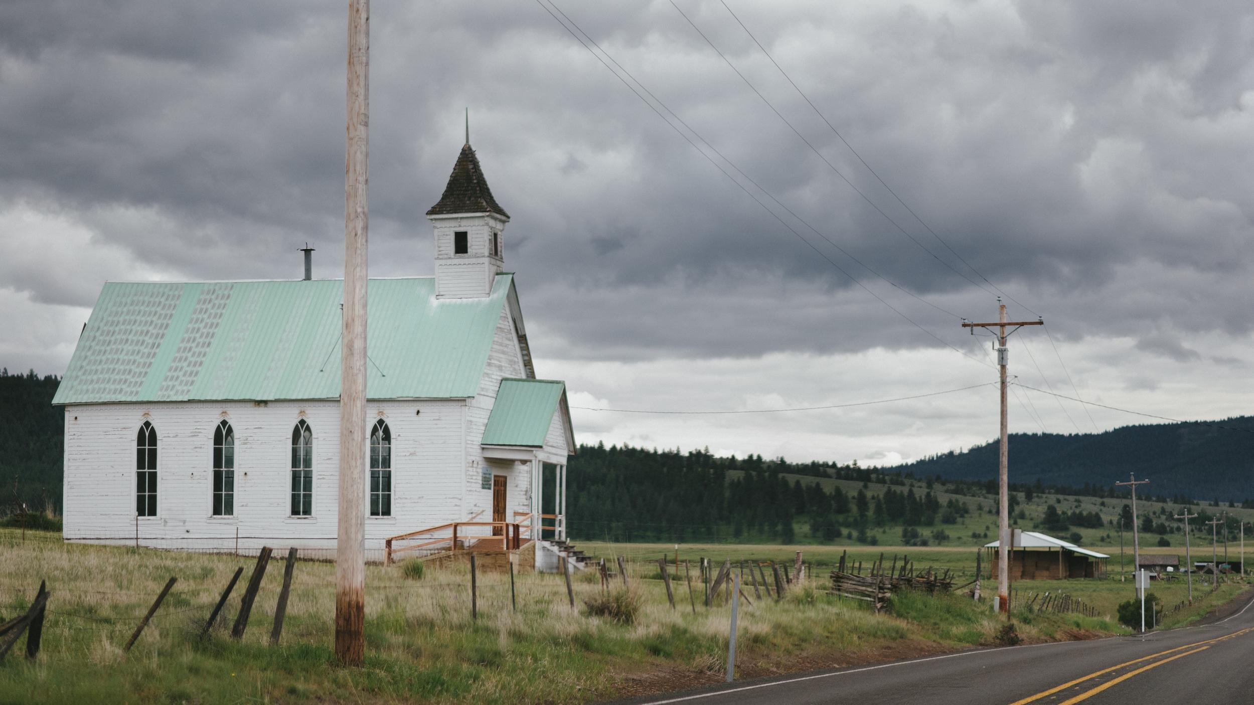 Defunct church in Fox, Oregon