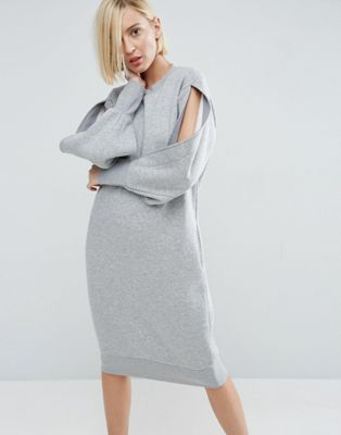 White Slash Sweat Dress