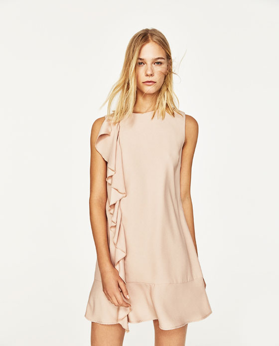 Straight-Cut Dress With Frill