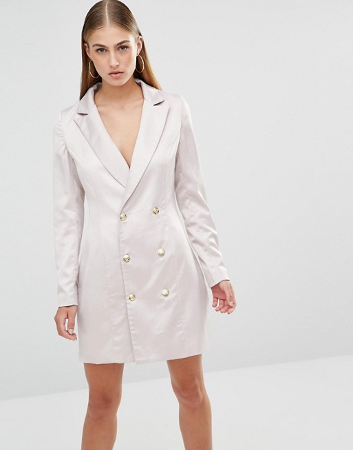 Misguided Satin Tux Dress