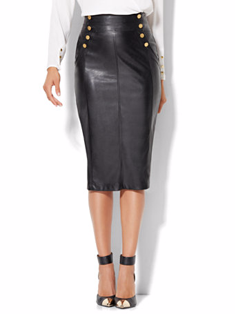 Faux-Leather Skirt w/ Gold Buttons