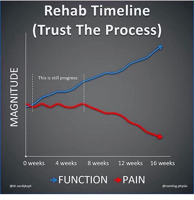Rehab can sometimes be a pain in the 🍑because it's rarely linear with an increase in Function Vs a decrease of Pain!  Most Clients initially enter the office wanting to get rid of the pain 🔥 and we are here to help put the fire out 👨🏻‍🚒👩🏼‍🚒 when we know that sooooooooooo many outside factors can influence levels of pain (🤬🤯🤕😴👠🍺 = stress, workload, trauma, sleep, environment, toxins etc) 🤓 it is sometimes best to measure objective data rather than subjective. Eg forward flexion, dorsiflexion, rotation and the angle/distance and see if there is a functional improvement from the initial tests to see if you are progressing.  Generally when our goal shifts from pain to function, you will often see a gradual decrease in pain as we improve our function!  Question?  If pain doesn't initially ⬇️ but our function ⬆️⬆️ are we on the right track? 🤷🏽‍♂️ And have your really trusted the process and understood the what's and why's  #sportschiro #function #pain #rehab #process #training