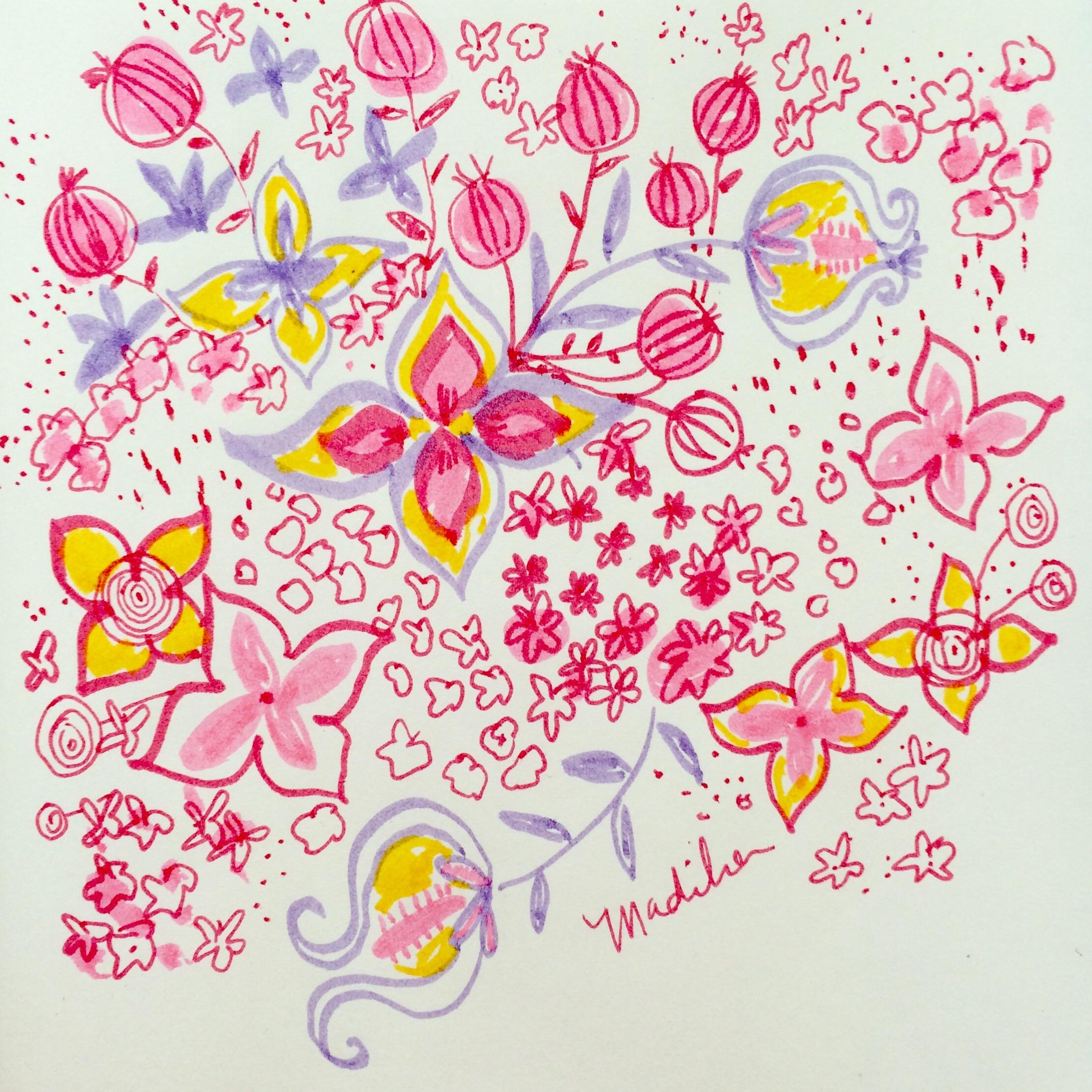 Day 27/100 floral doodle