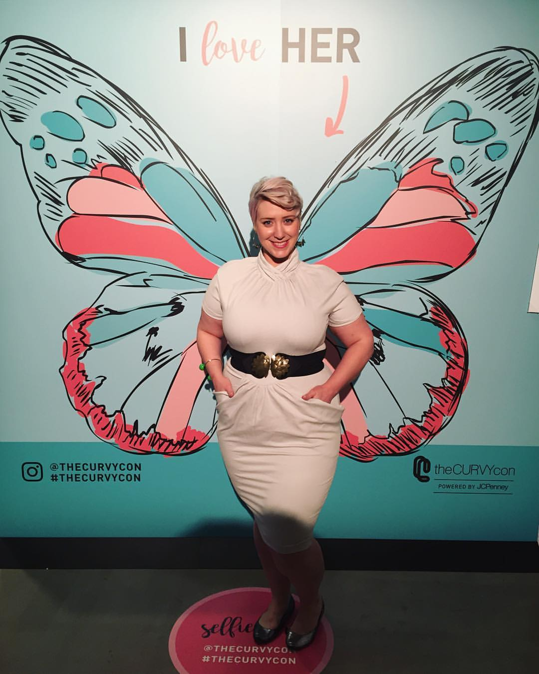 Beth Ditto Lola Dress in Dove Grey  - $245, sizes 14-28 (I'm wearing a size 16); wings not included.