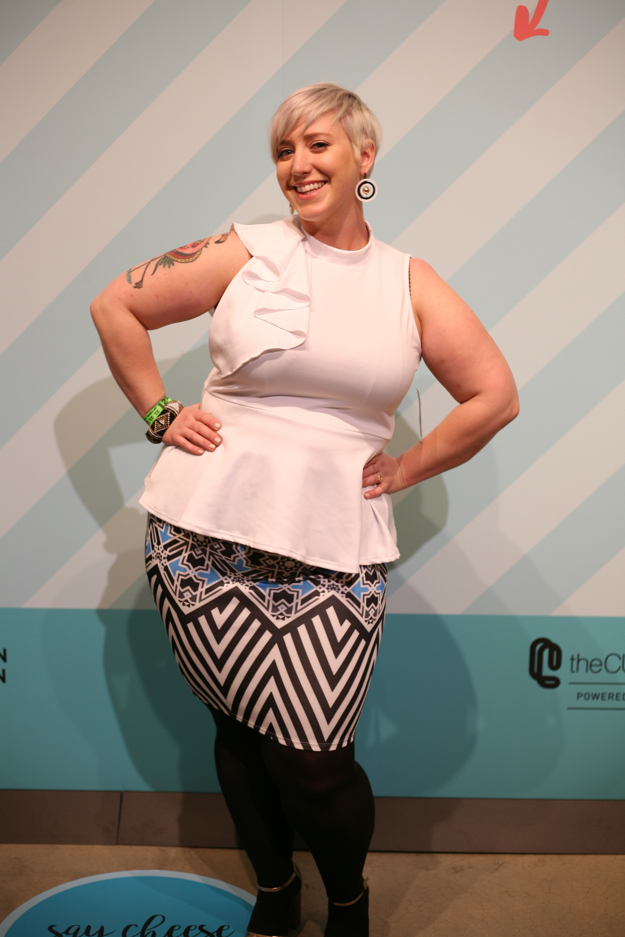 FTF Remi Ruffle Neck Peplum Top in White ;  FTF Mellie Tile Print Pencil Skirt  - $32.90 each, available in sizes 0X - 3X