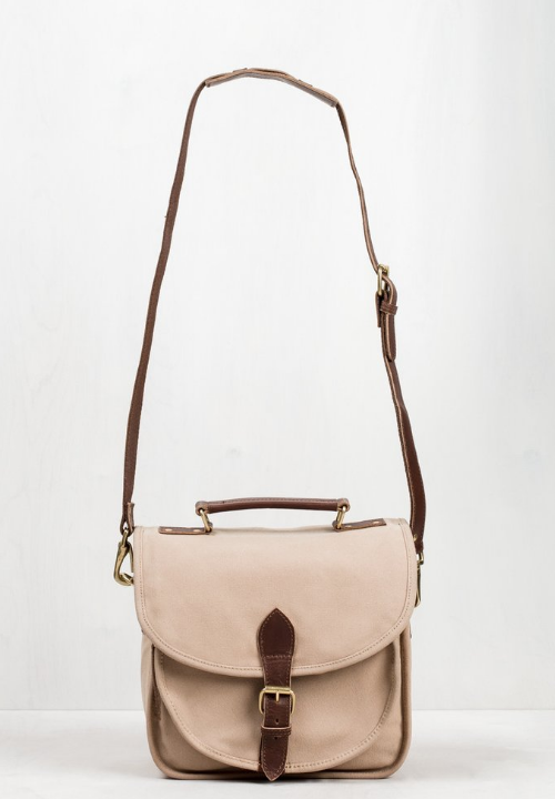 UNITED BY BLUE: JUNIPER CAMERA CROSSBODY - $148;  B Corp certified ,made with organic cotton and vegetable-tanned leather. UBB removes one pound of trash from our oceans for every product sold.