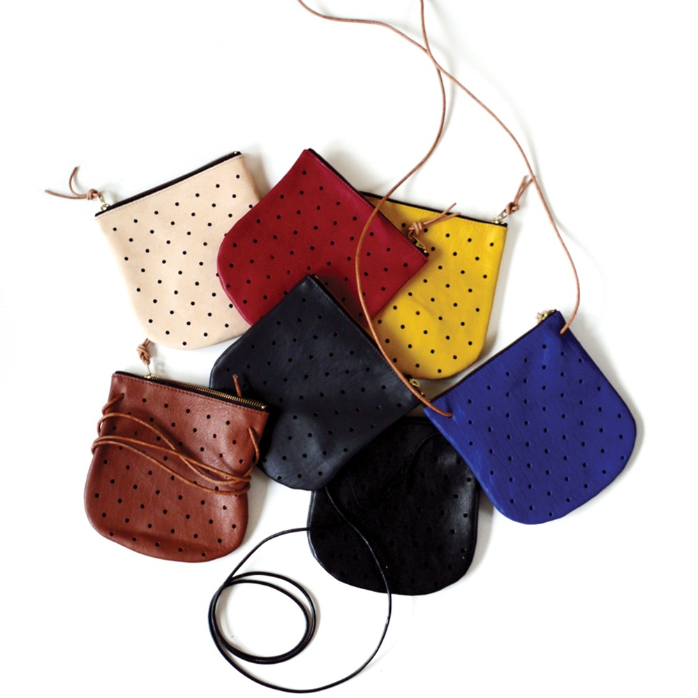 PINE & BOON CONVERTIBLE DOT POUCH - $96; Certified B Corp; made in Oregon from California-sourced vegetable-tanned leather