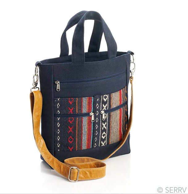 SERRV NAVY PERFECT CARRYALL - $75; Fair Trade; made almost entirely from remnant and recycled materials.