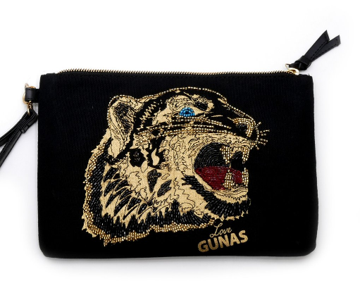 GUNAS FIERCE POUCH CLUTCH - $99; Vegan; ethically made in South Korea with recycled plastic bottles