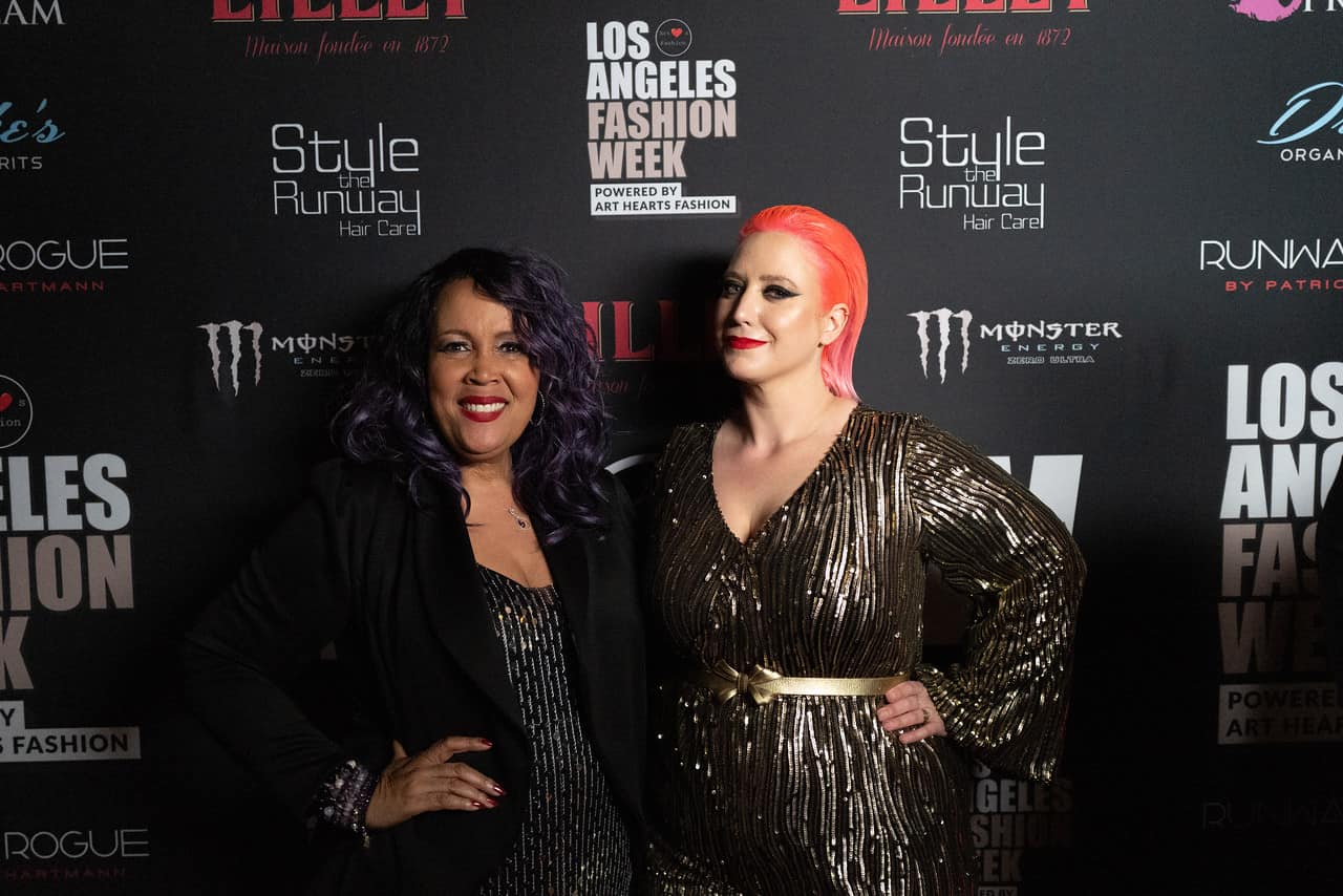 Me pictured with indie designer René Tyler at Los Angels Fashion Week 2019