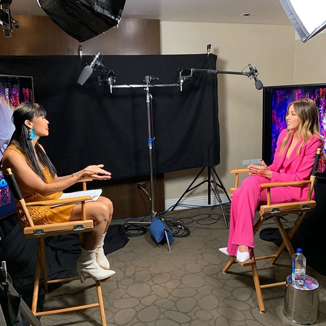 """@chloebennet & I were twinning with the bright colors & white shoes when I sat down with her to talk about @abominablemovie (which took the box office this past weekend). I admire her because early on in her career she spoke out on how hard it it was for her being an Asian-American and not looking """"Asian"""" enough to be cast as the """"best friend"""" and not being """"white"""" enough to be cast as the lead. Chloe spoke to me about those hurdles made her change her last name from """"Wang"""" to """"Bennet"""" and how she feels speaking up about it, she hopes to encite more change in Hollywood and hopes that the current spike in diversity isn't going to be just a trend in the industry.  Everest is my new adorable friend, go see him in Abominable in theaters now! #bestjobever ❤️@hollywoodfirstlookfeatures"""