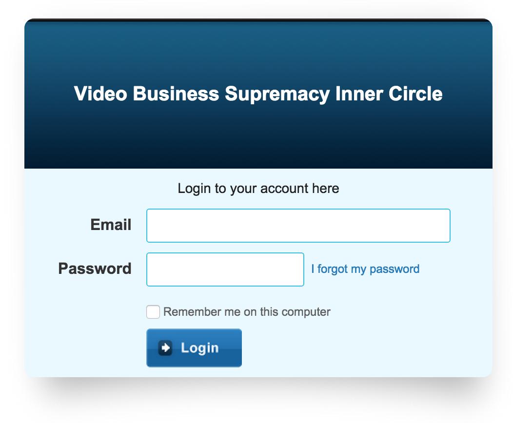 Inner circle login screen