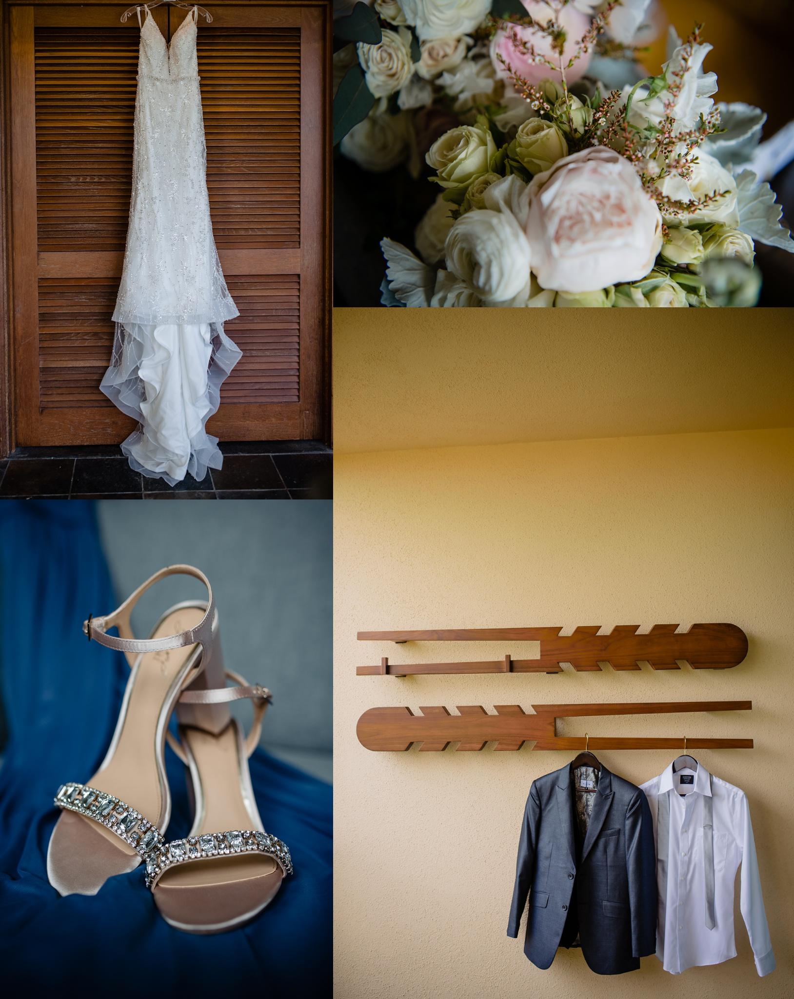 wedding details: dress, flowers, shoes, suit