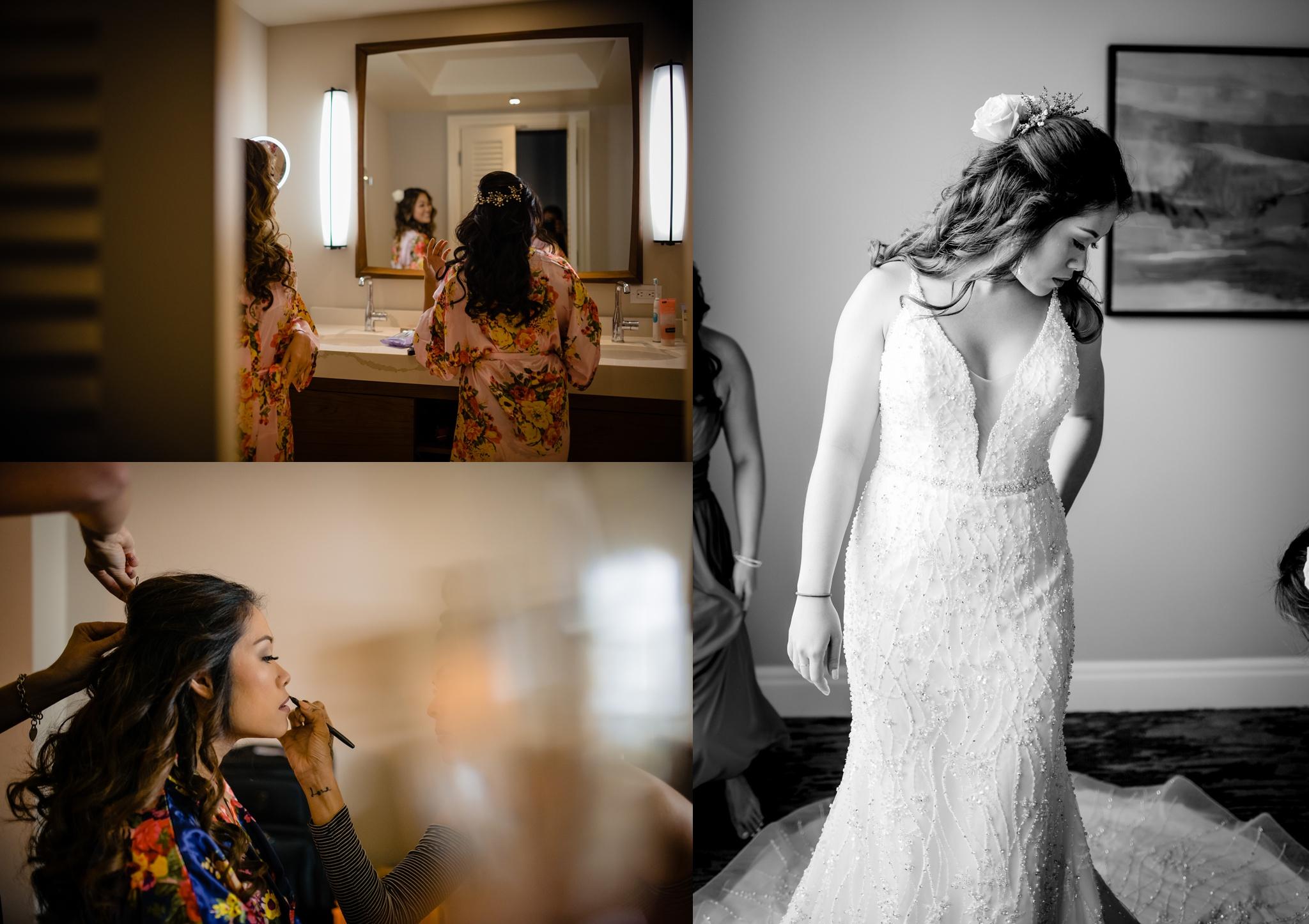 bride getting ready for a hawaii wedding