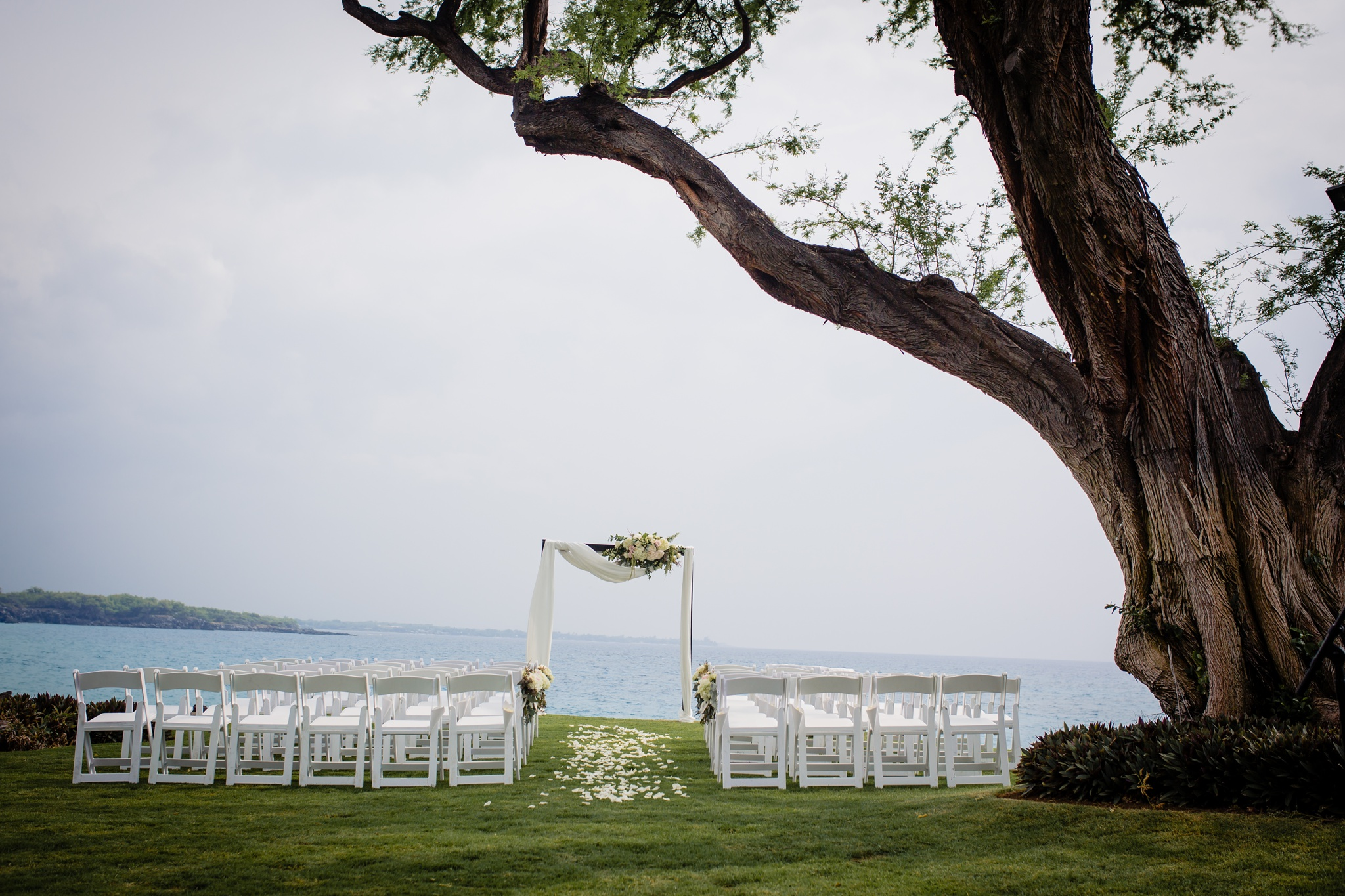 ceremony location at turtle point of hapuna westin hotel