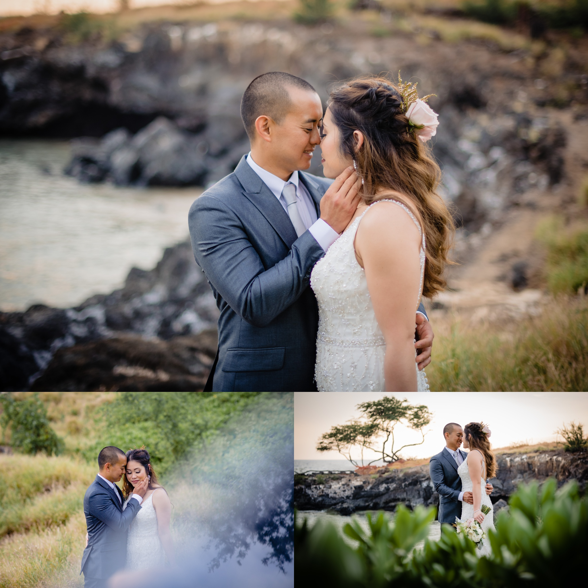 hawaii wedding couple posing at turtle point