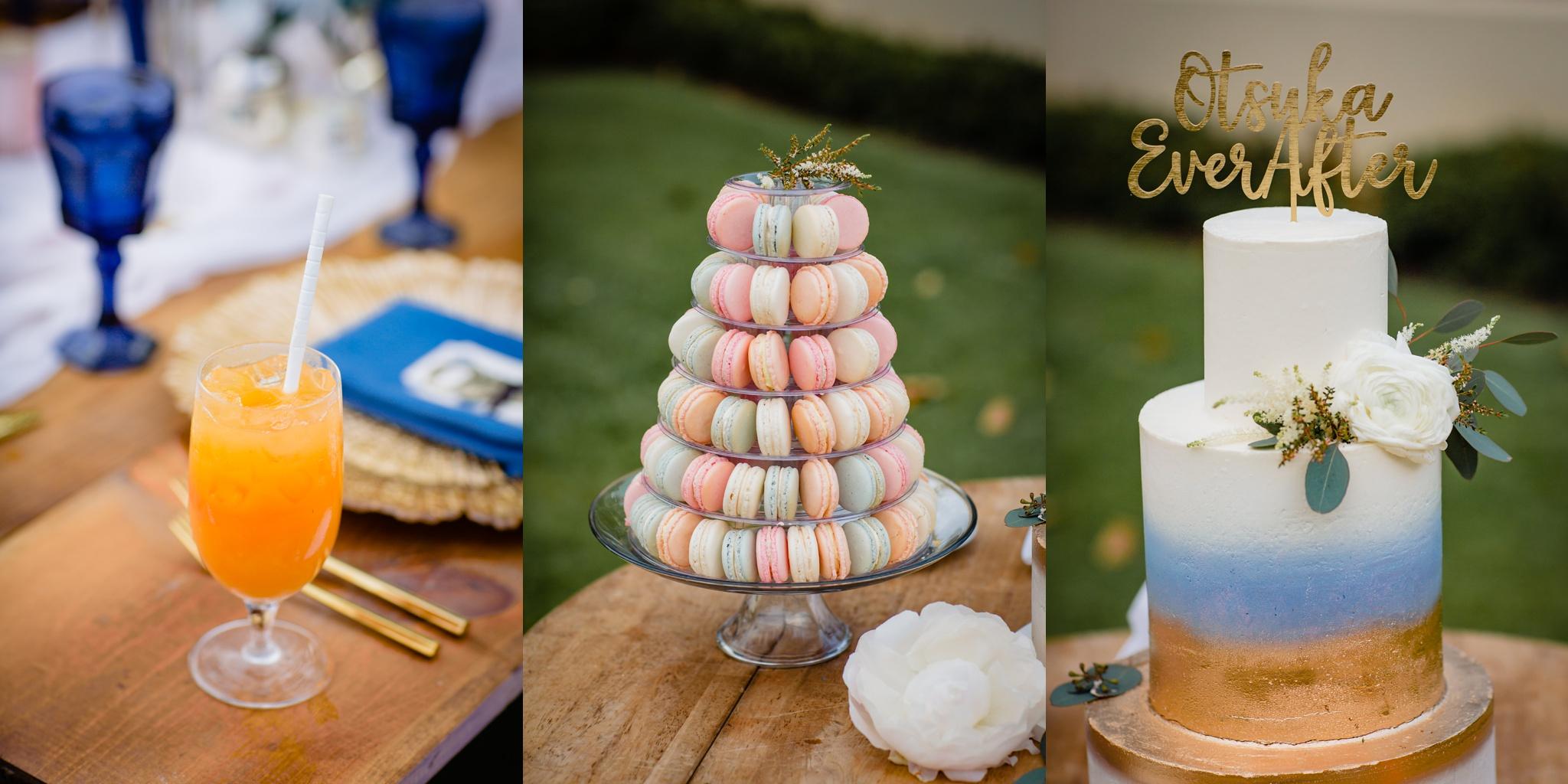 wedding cake and dessert station