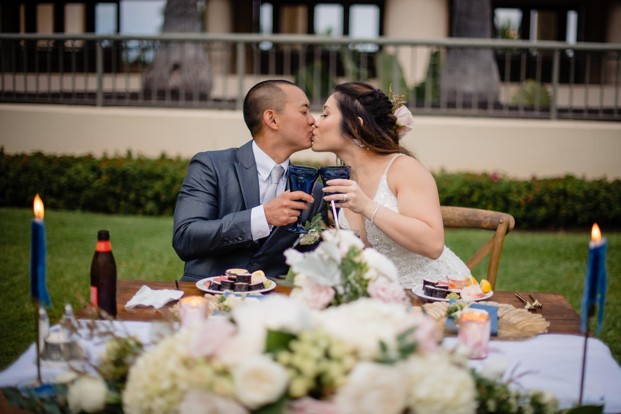 newlywed first toast kona wedding