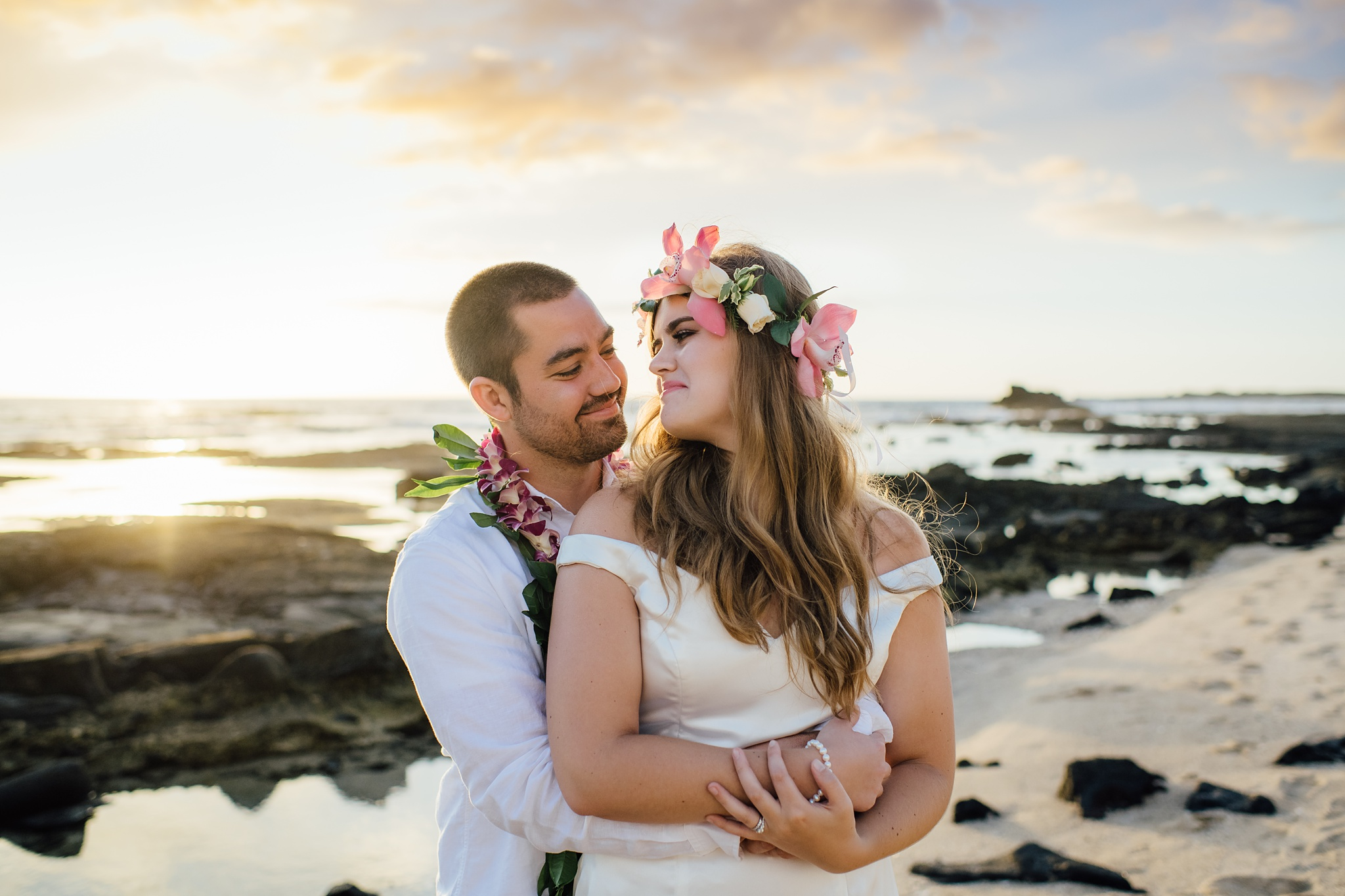 Big Island Bride and Groom during their wedding in Hawaii