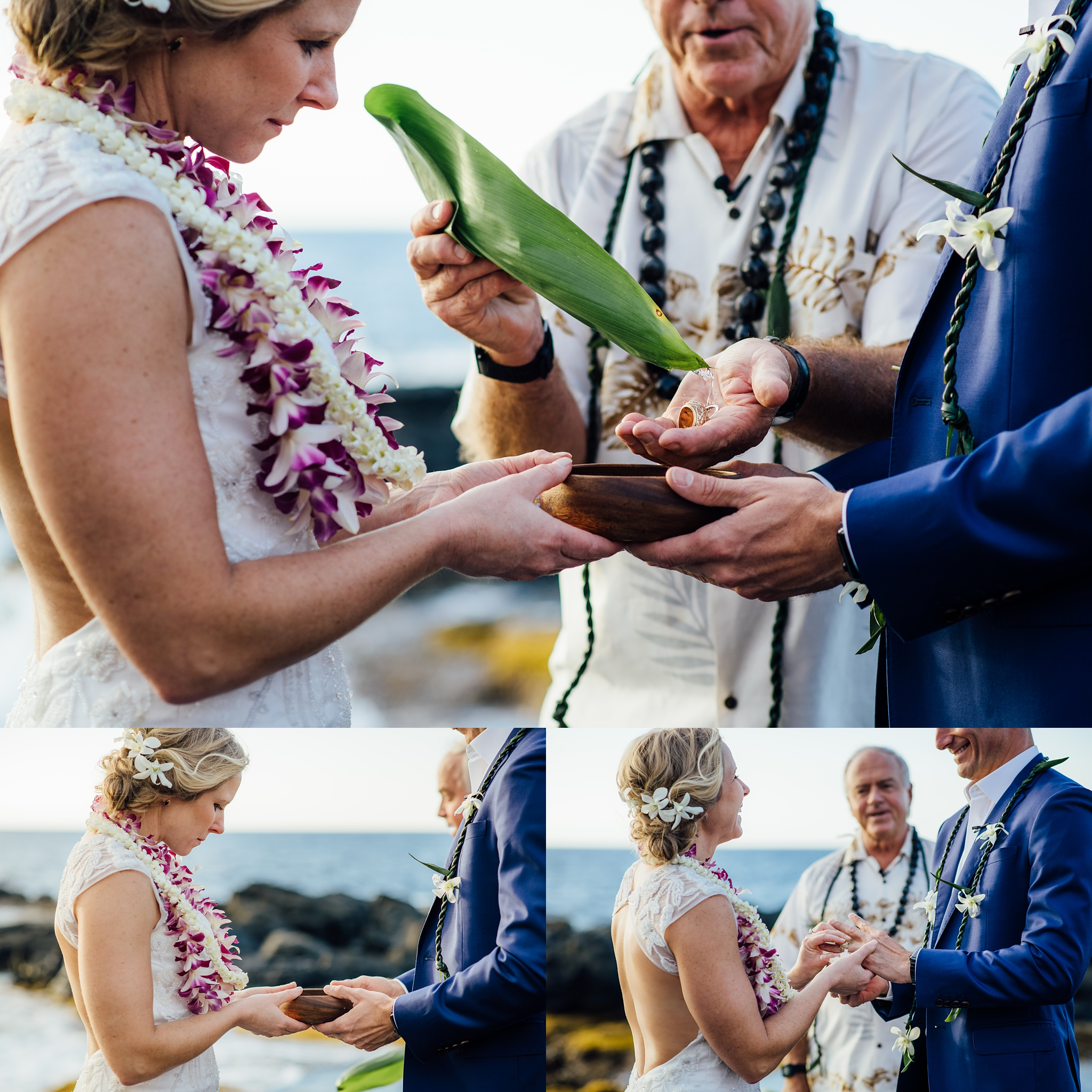 ring ceremony hawaii wedding on beach