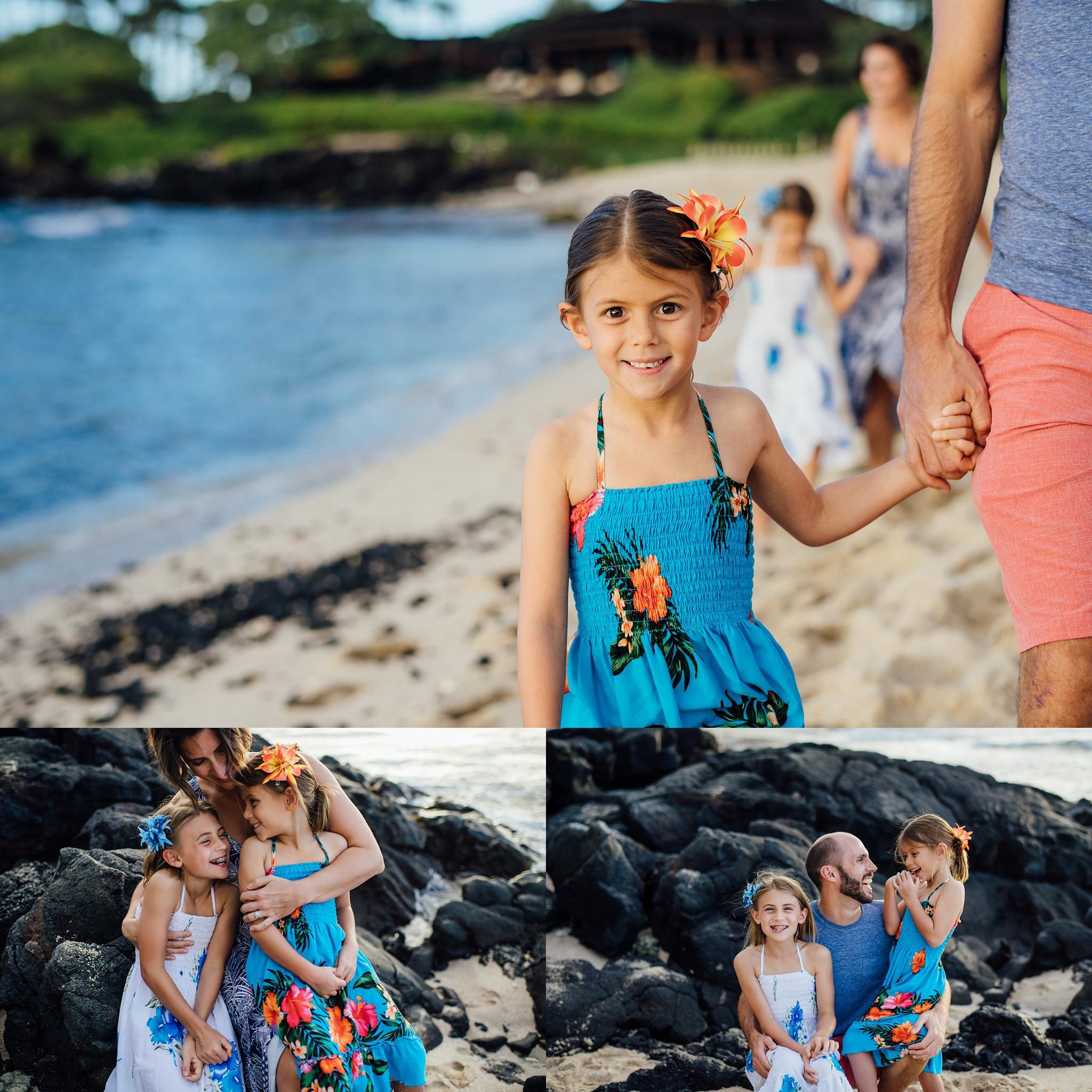 family adventuring on a beach in Kona