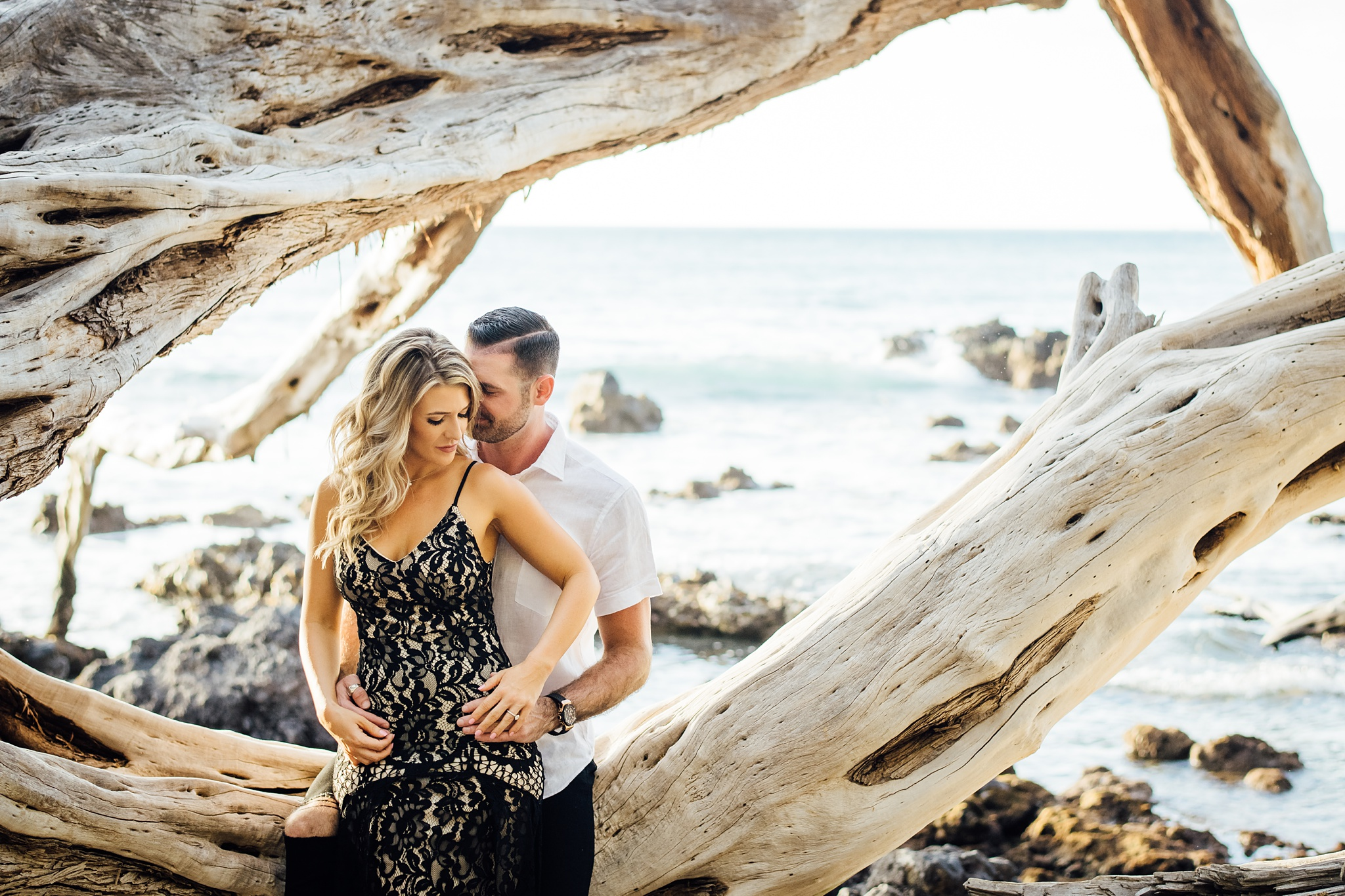 sweet image of a couple during their engagement session in hawaii