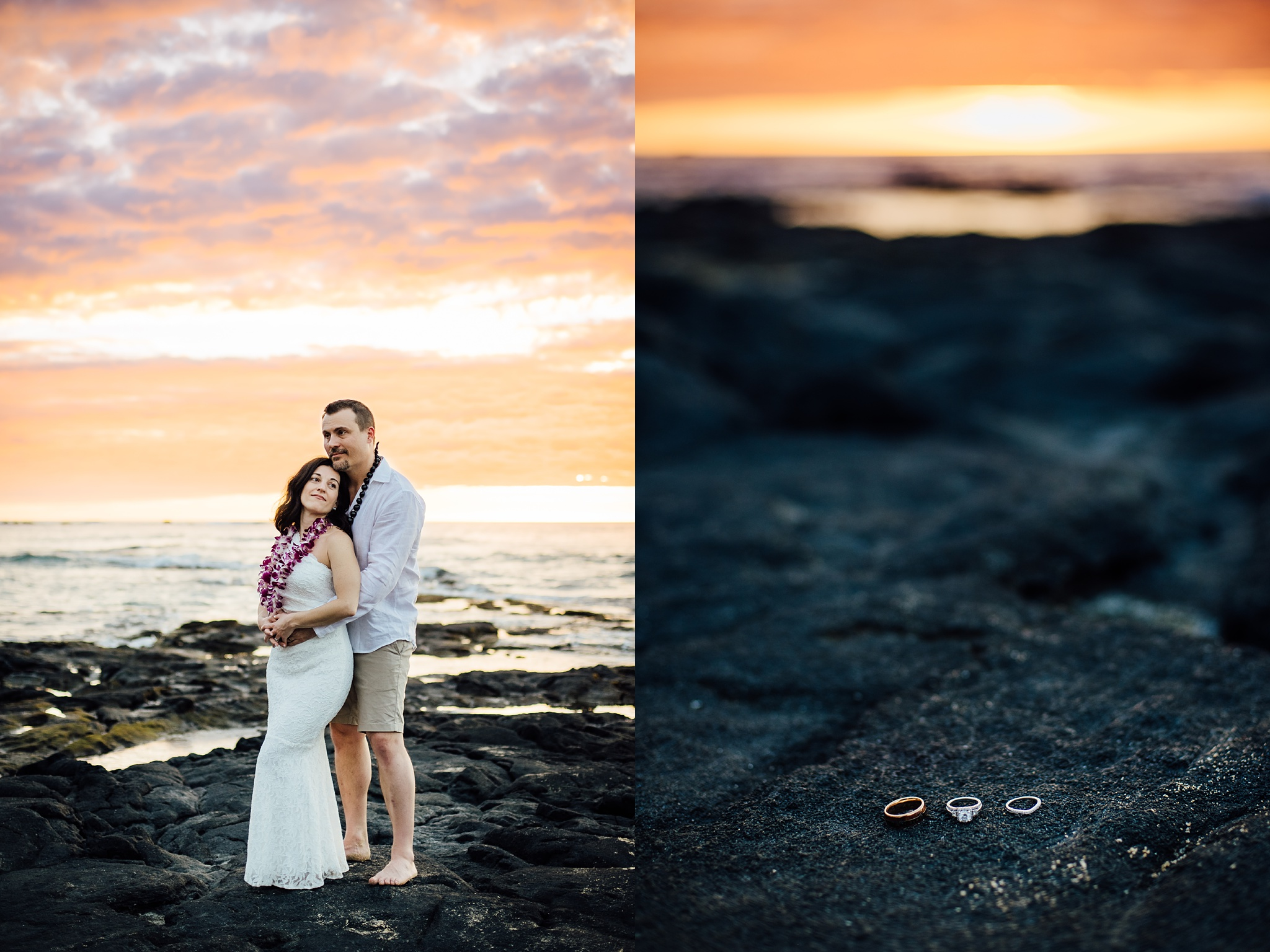 Wedding Rings on lava rocks during wedding day in Hawaii