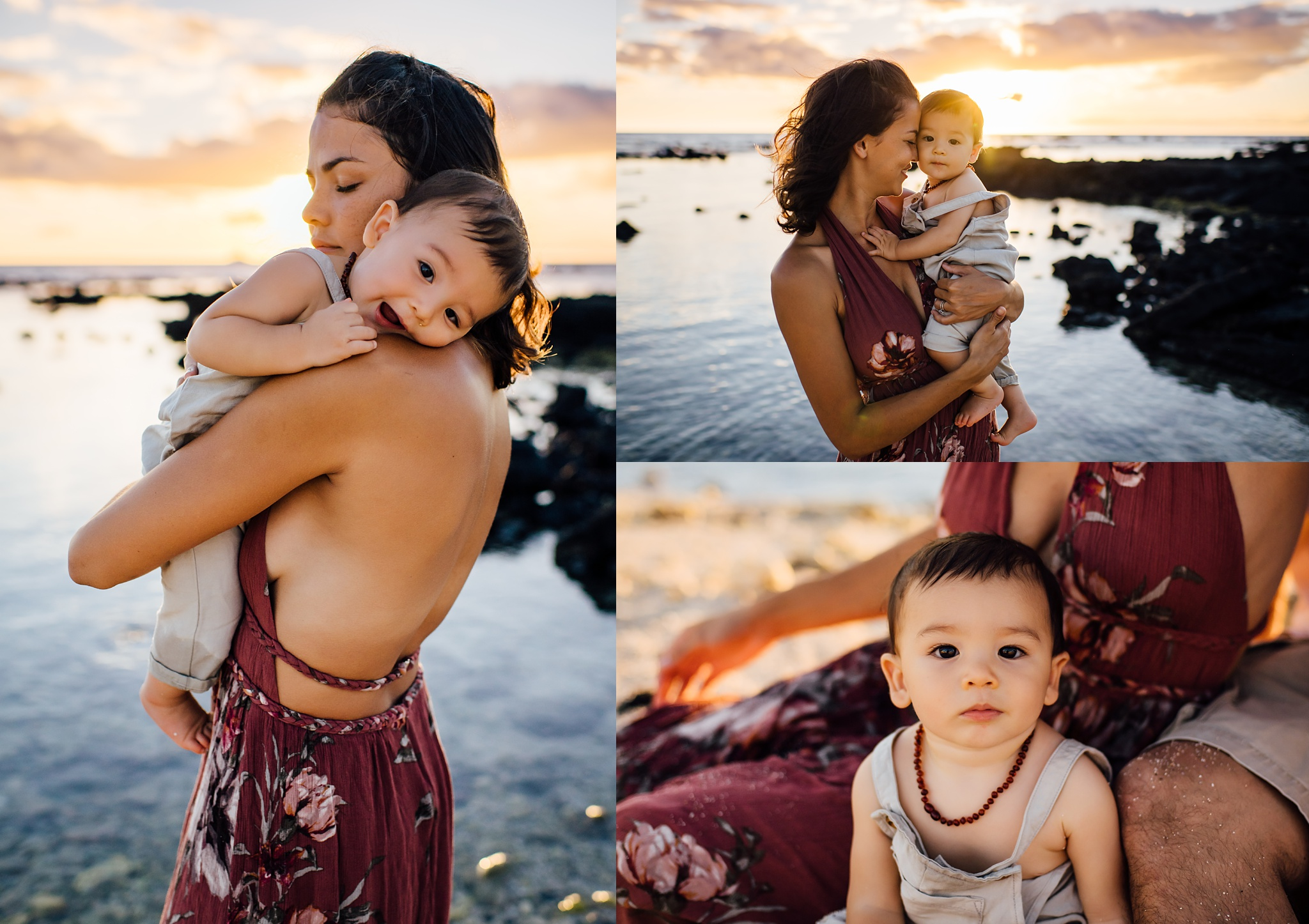 Mom loving on her kids at sunset on a beach on the Big Island