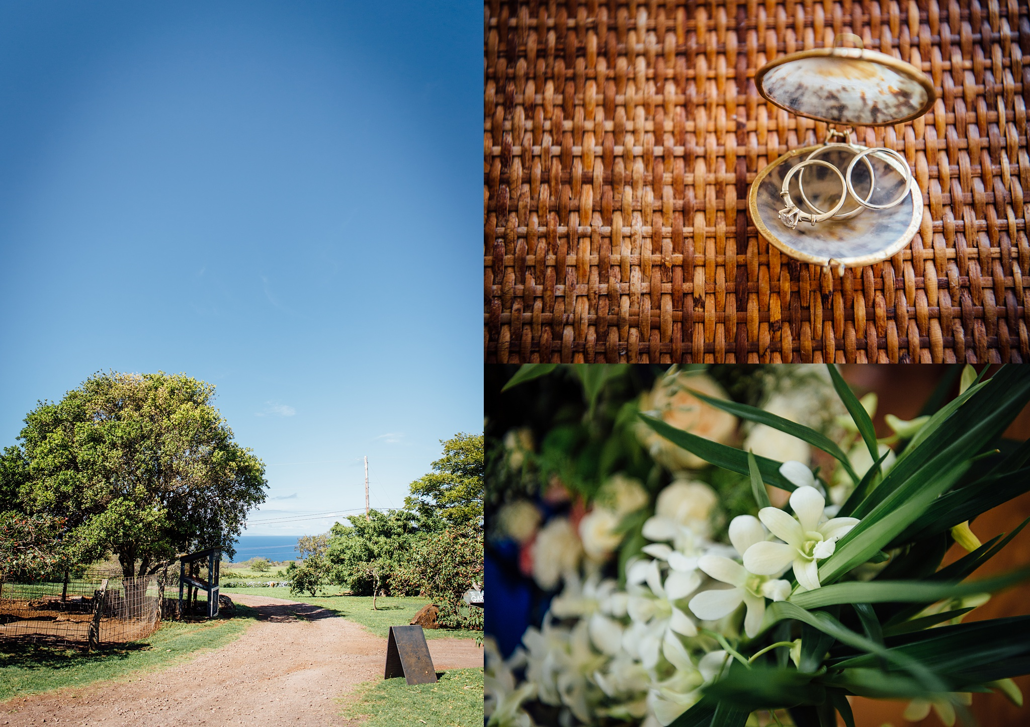 Bridal details during a hawaii wedding on the big island