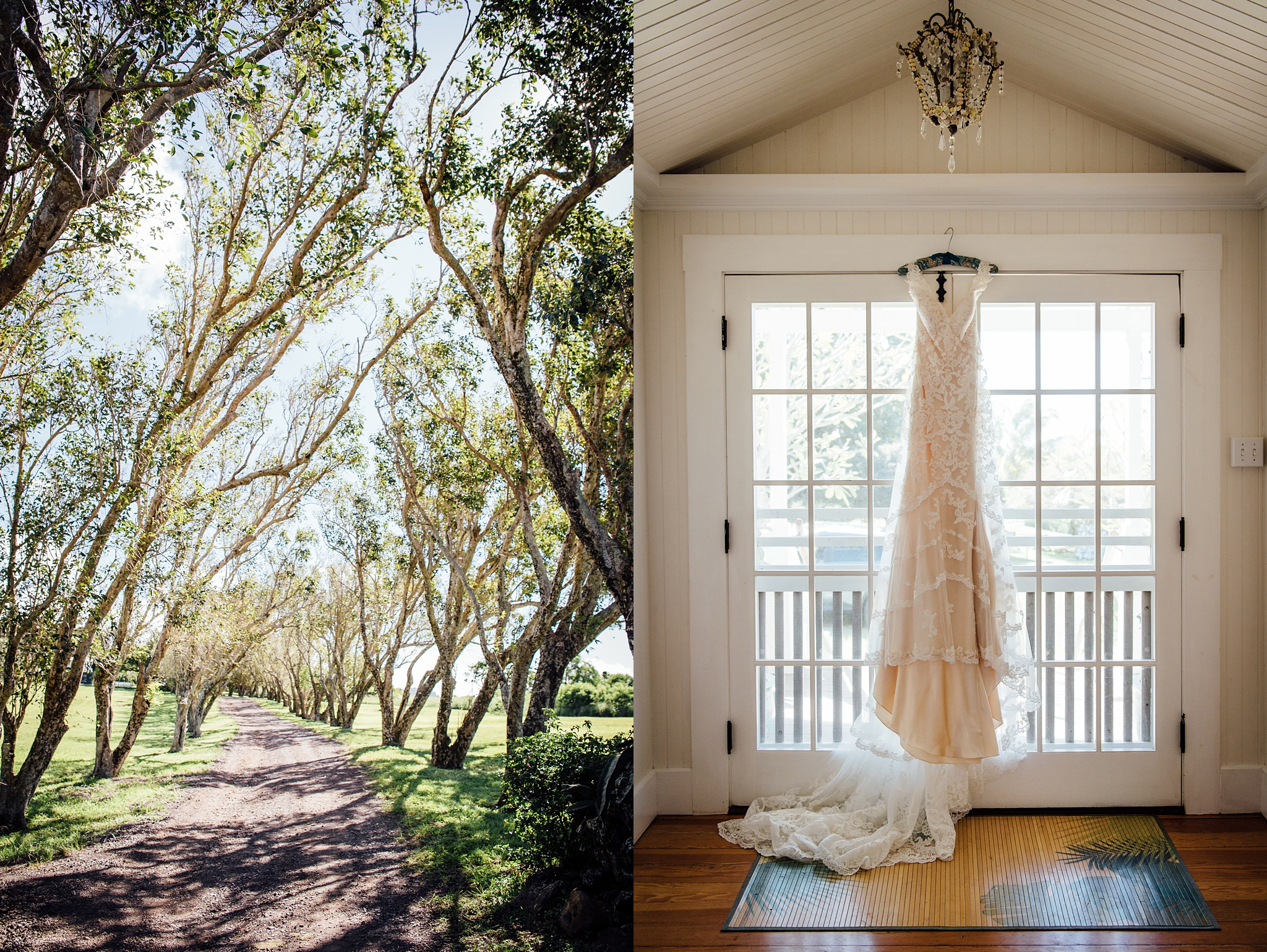 bride's dress for her Puakea Ranch Wedding in Hawaii