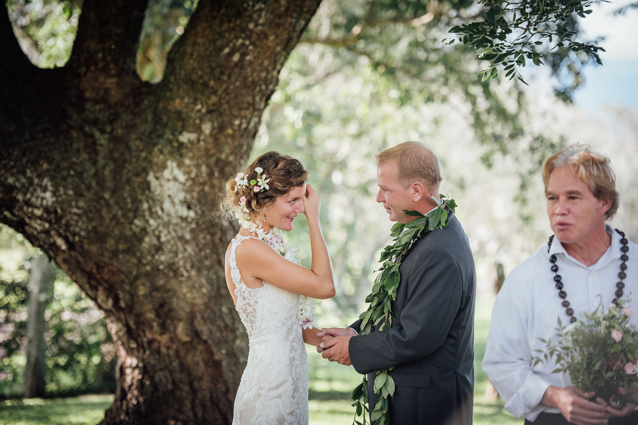 emotional moment for the bride during a big island wedding