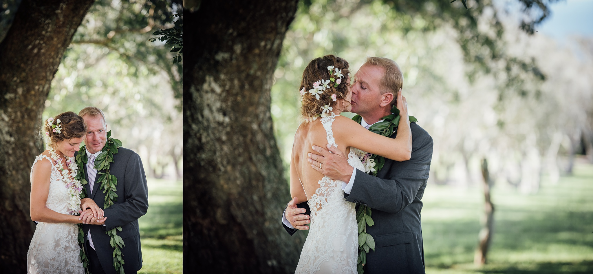 first kiss during a hawaii wedding