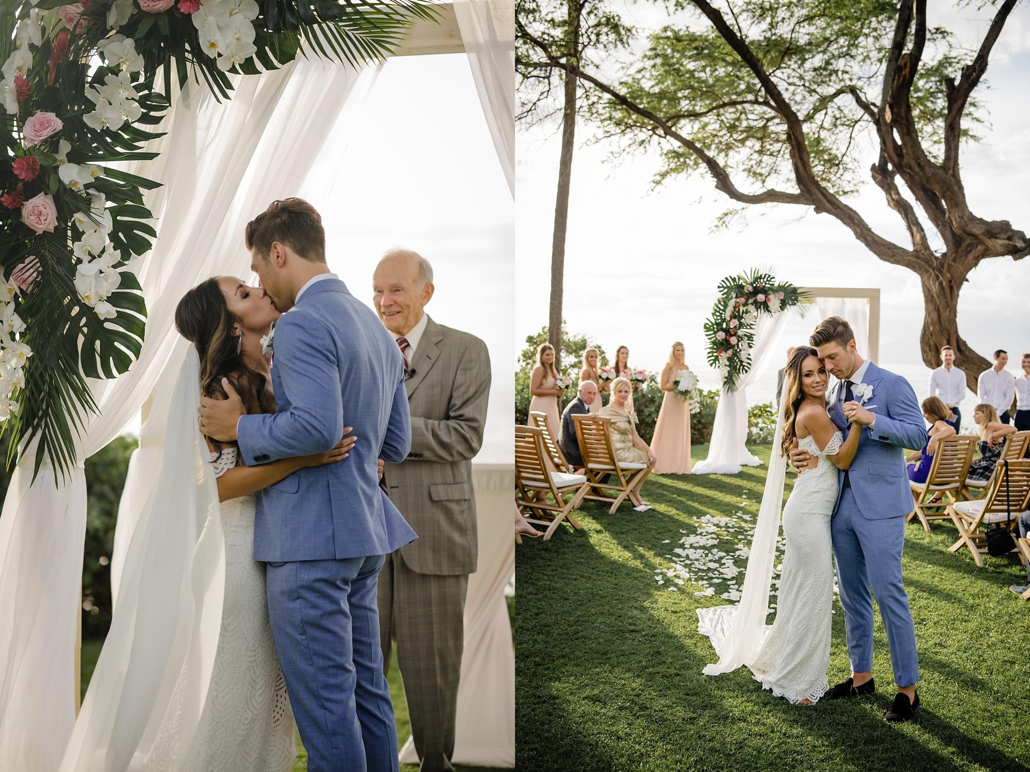 wedding first kiss, hawaii wedding photography