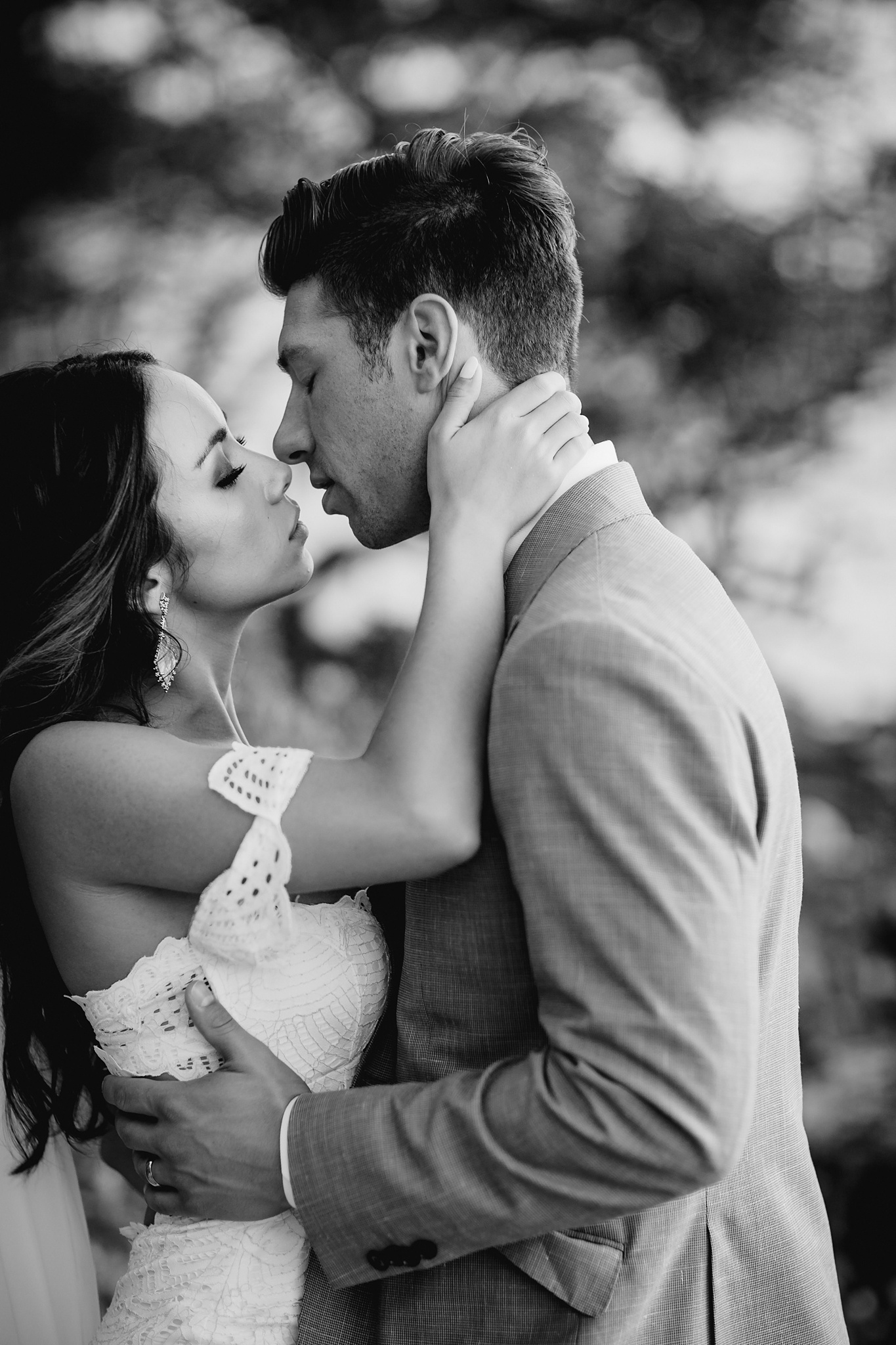 intimate moment with the bride and groom in hawaii
