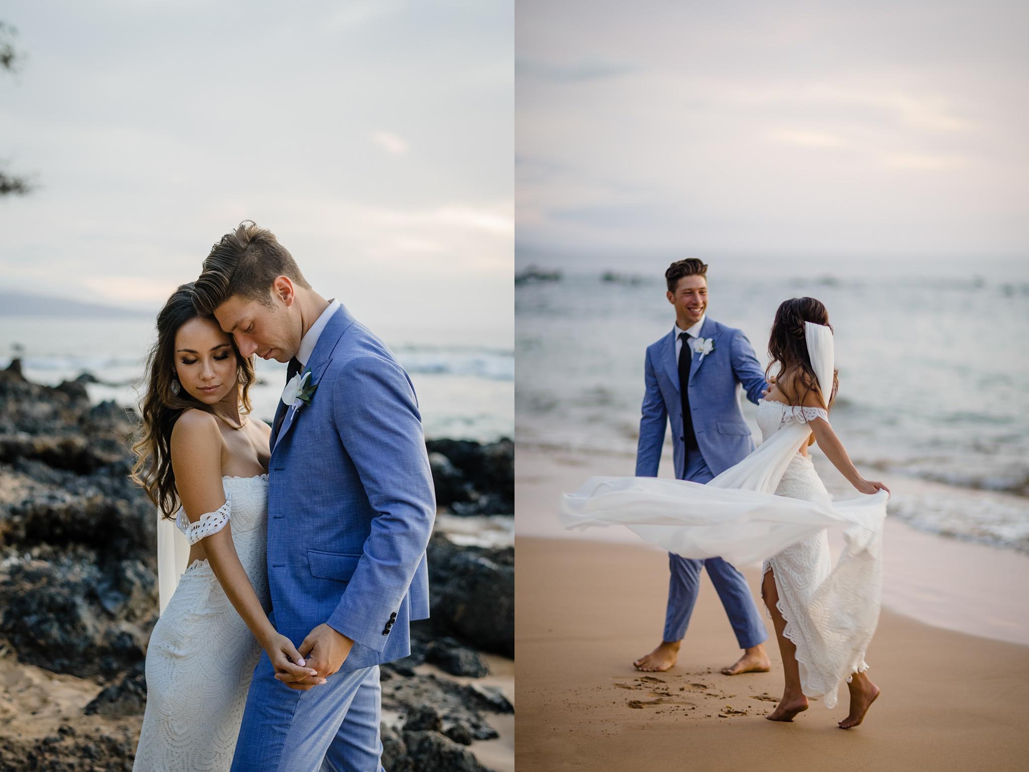 bride and groom photos in hawaii beach