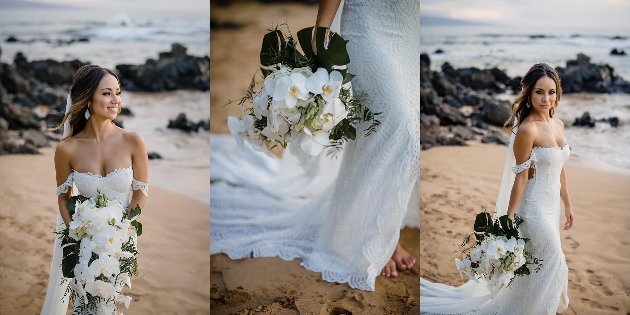 hawaii bride photos at sunset