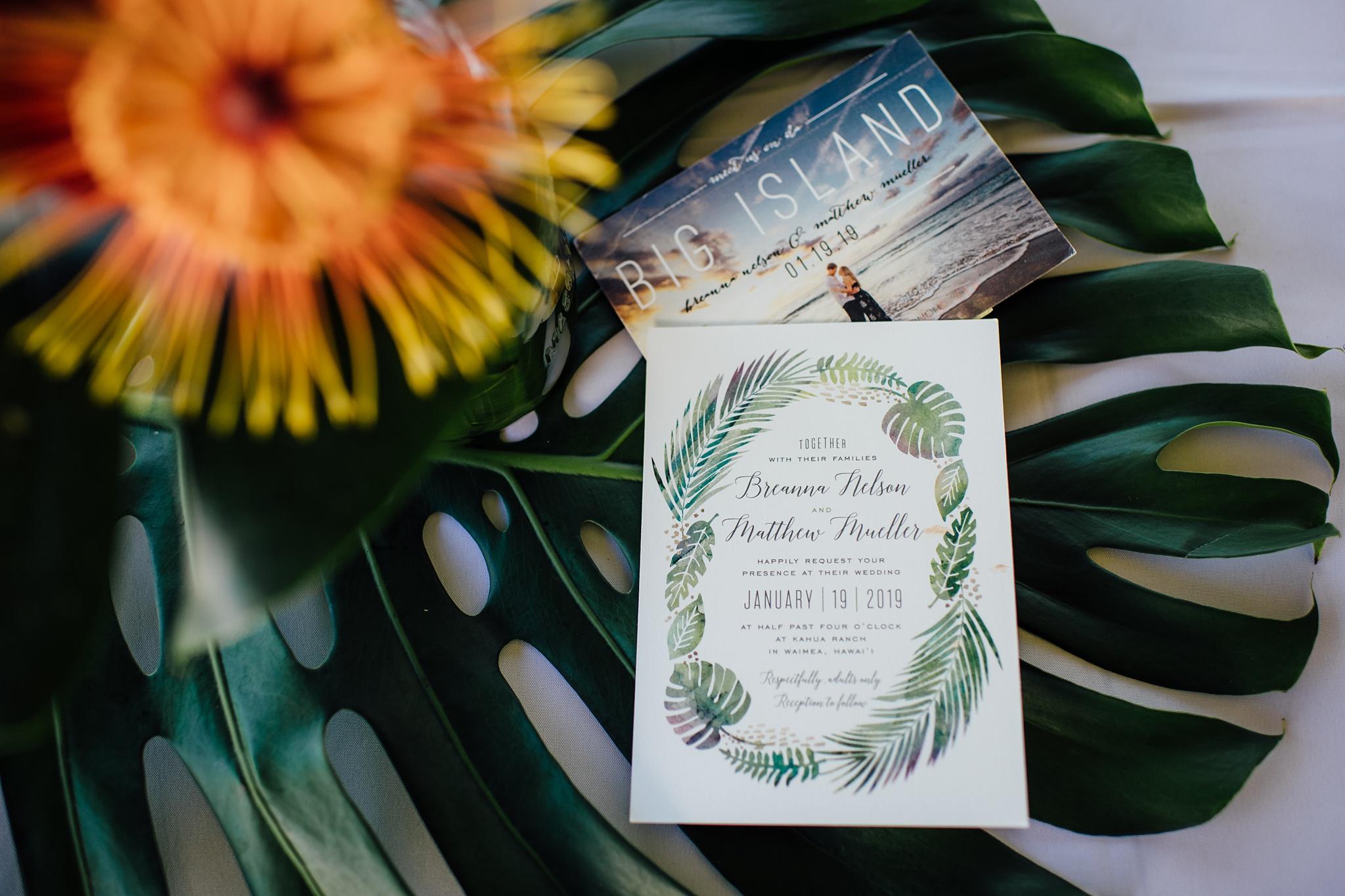 Wedding Invitation for Hawaii Wedding