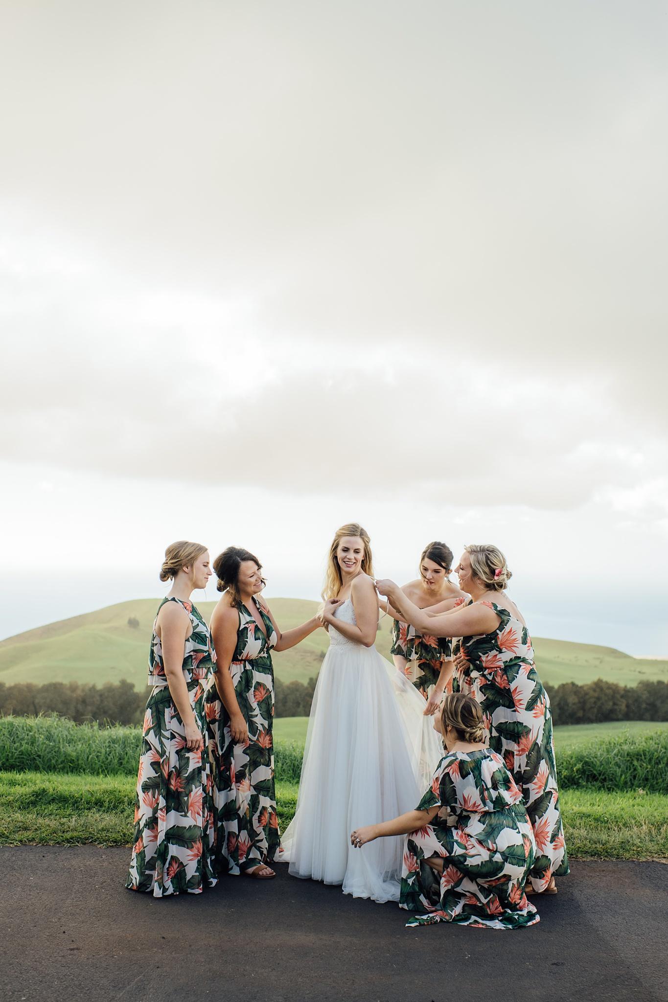 Girls getting ready for hawaii wedding