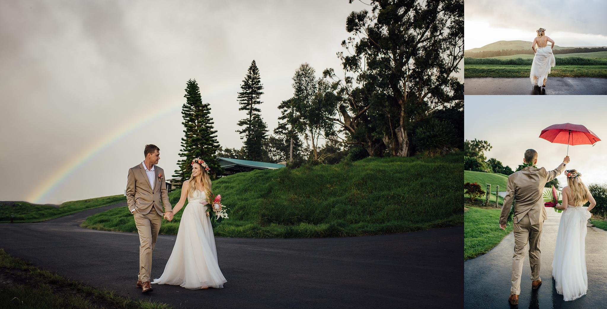 rainbow on a wedding day at kahua ranch on the big island