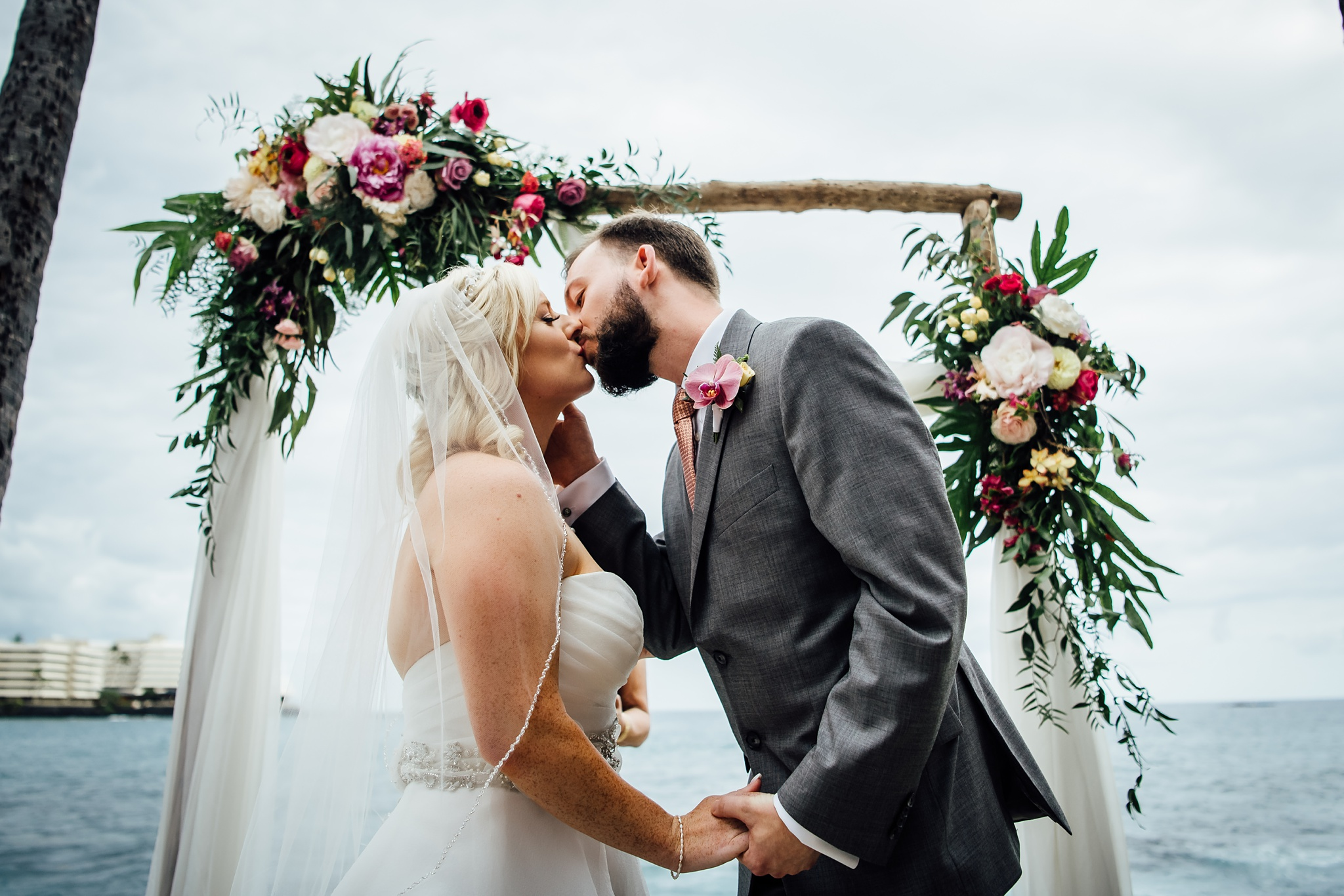 Hawaii Wedding First Kiss