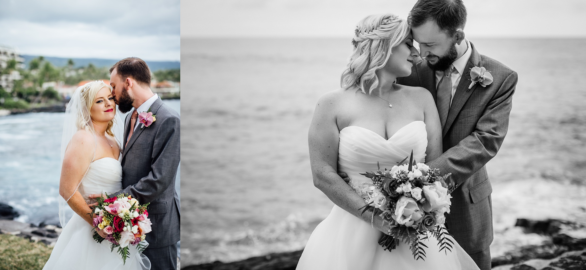 Intimate moments during wedding in kona big island Hawaii