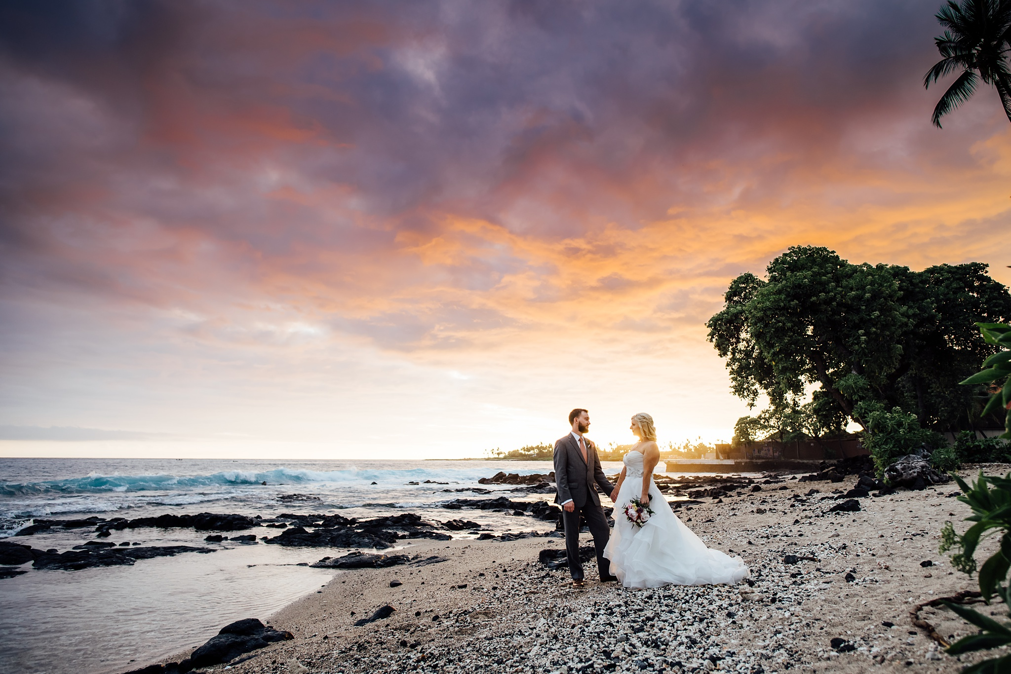 Big Island Wedding Couple at Sunset