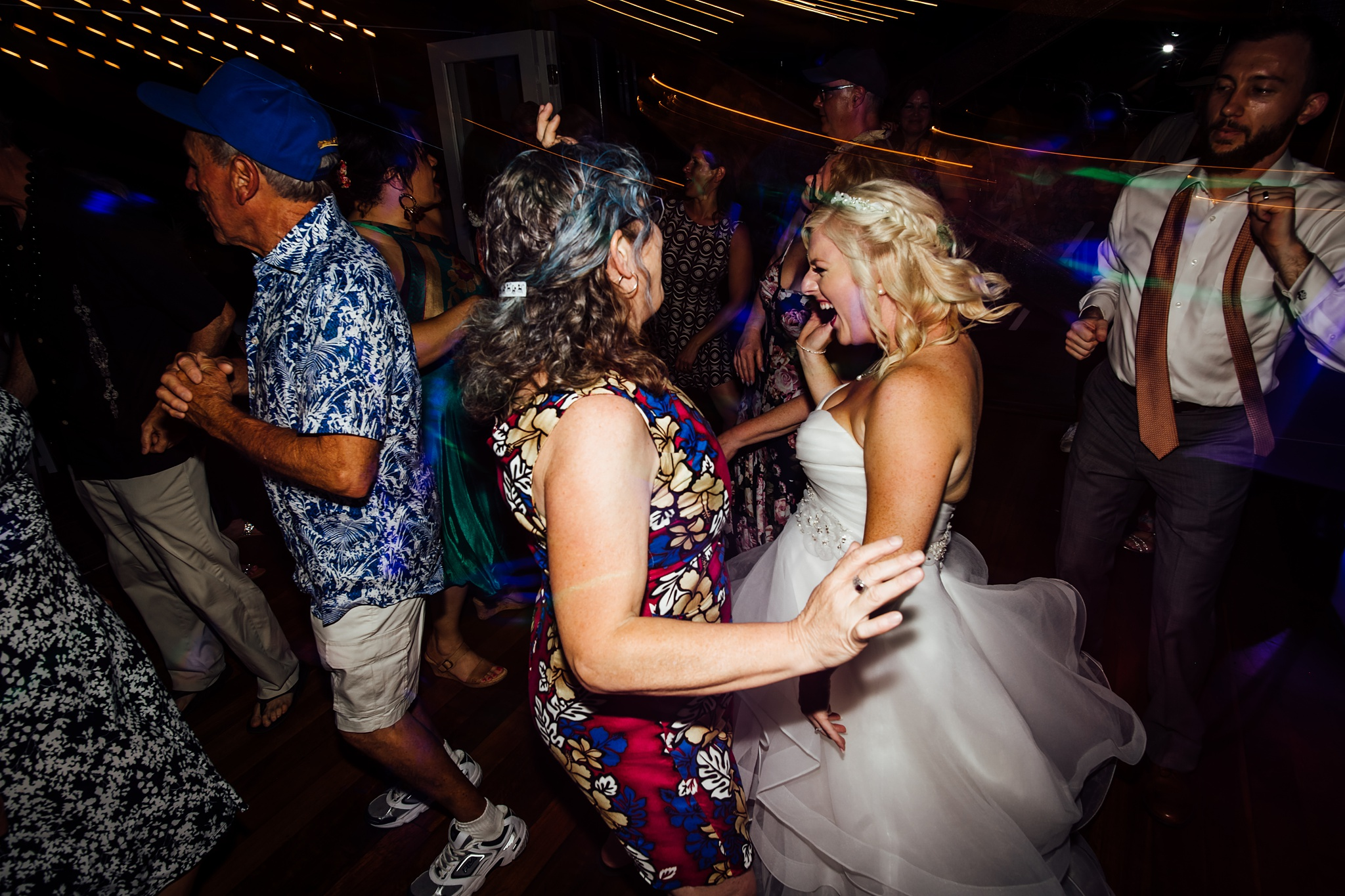 Bride dancing on her wedding day in Hawaii