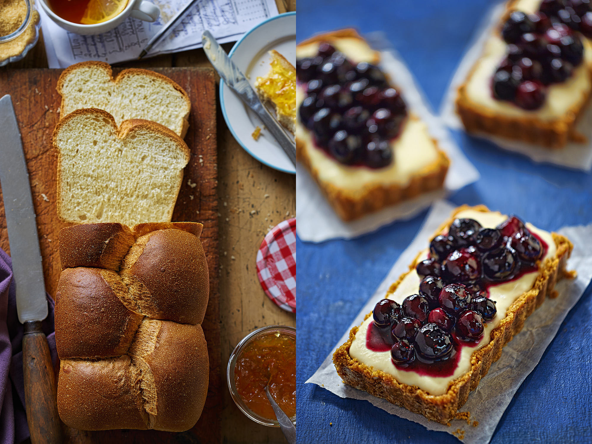Sweet bread and blueberry tarts